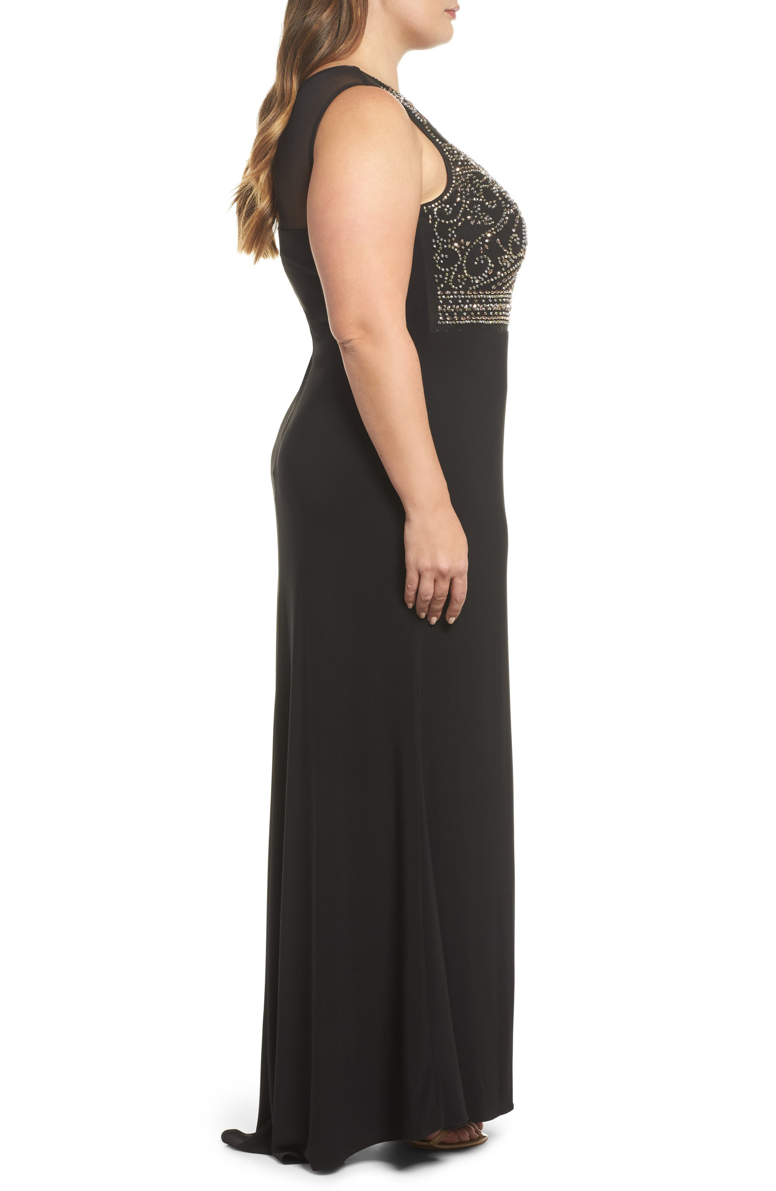 MORGAN & CO.,                             Beaded Sheer Back Gown,                             Alternate thumbnail 3, color,                             BLACK