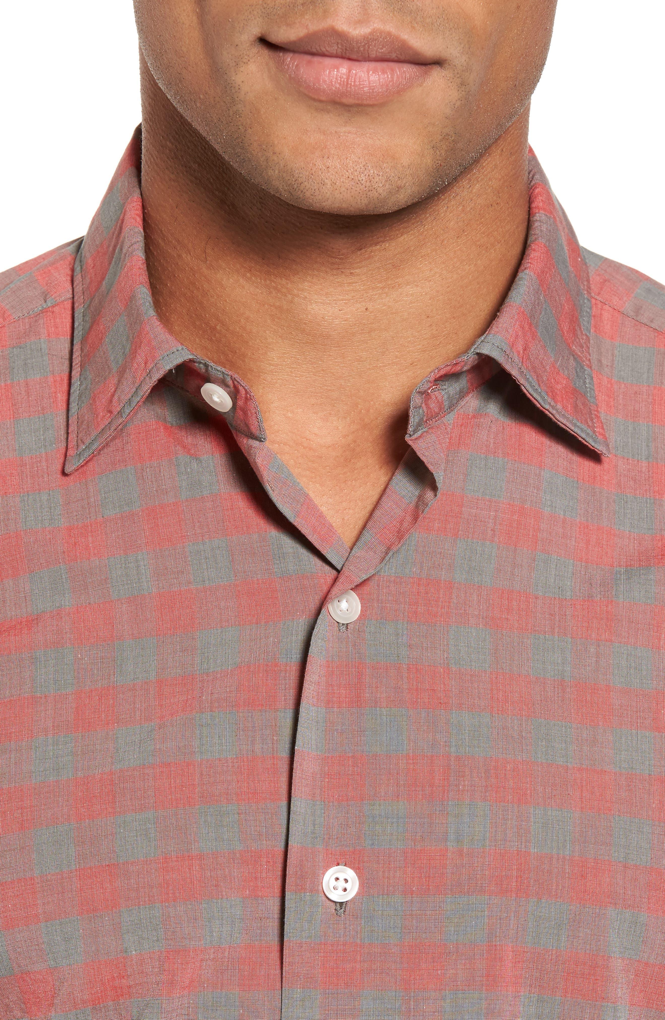 Slim Fit Check Sport Shirt,                             Alternate thumbnail 4, color,                             600