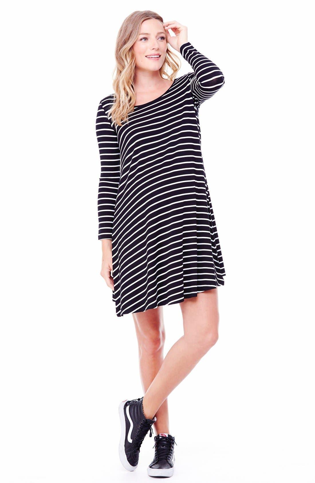 Striped Maternity Trapeze Dress,                             Main thumbnail 1, color,                             011