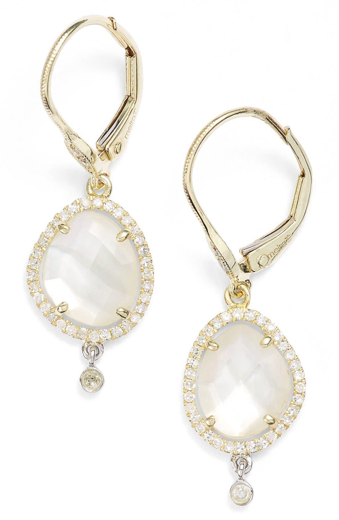 Diamond & Semiprecious Stone Drop Earrings,                             Main thumbnail 2, color,