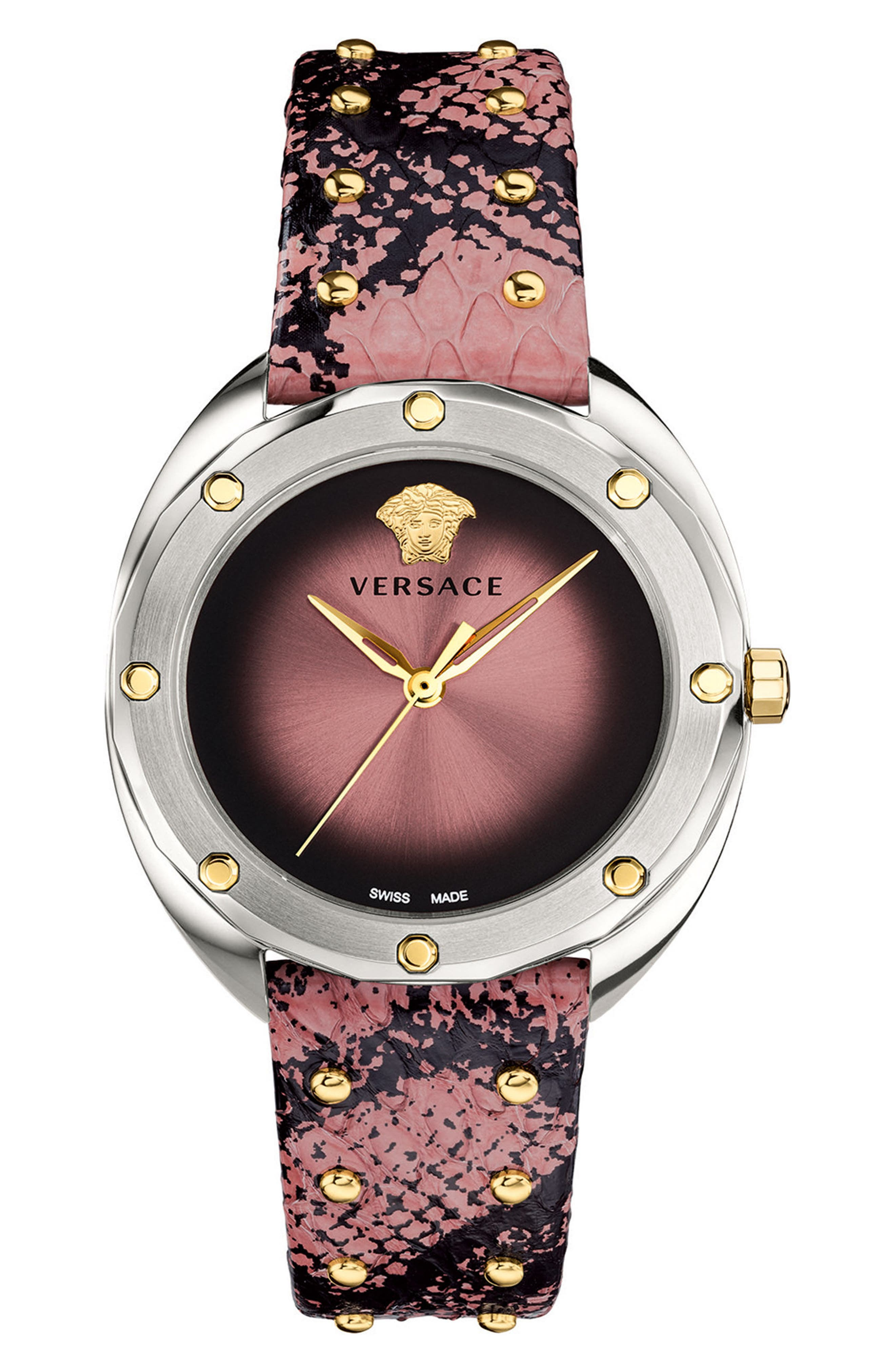 Shadov Snakeskin Leather Strap Watch, 38mm,                             Main thumbnail 1, color,                             PINK/ SILVER