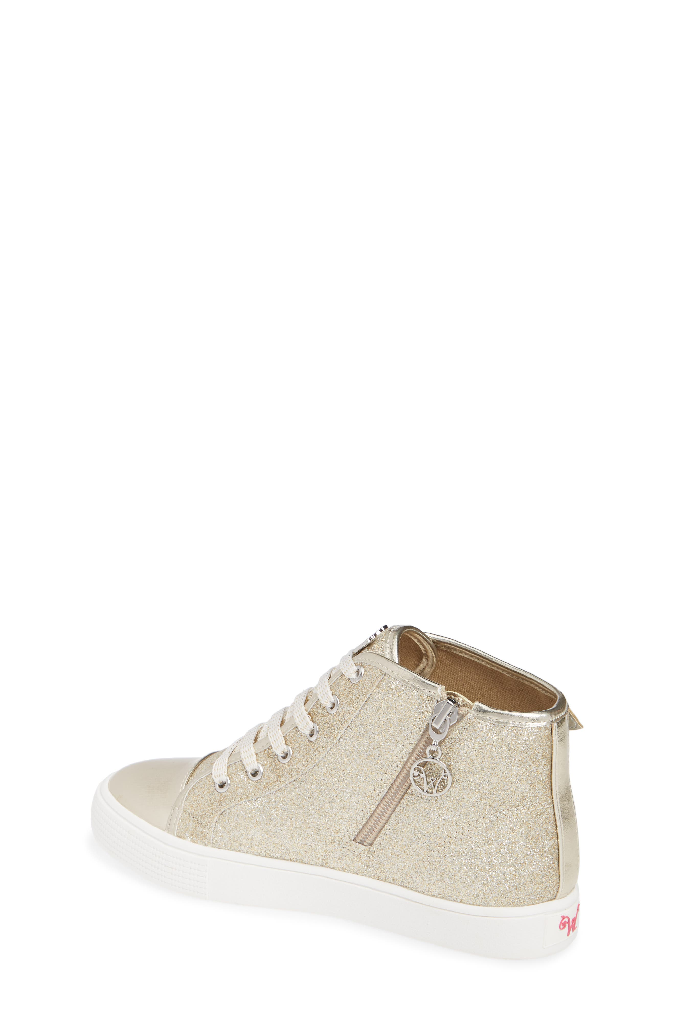 Willa Winged Glitter High Top Sneaker,                             Alternate thumbnail 2, color,                             SOFT GOLD SILVER