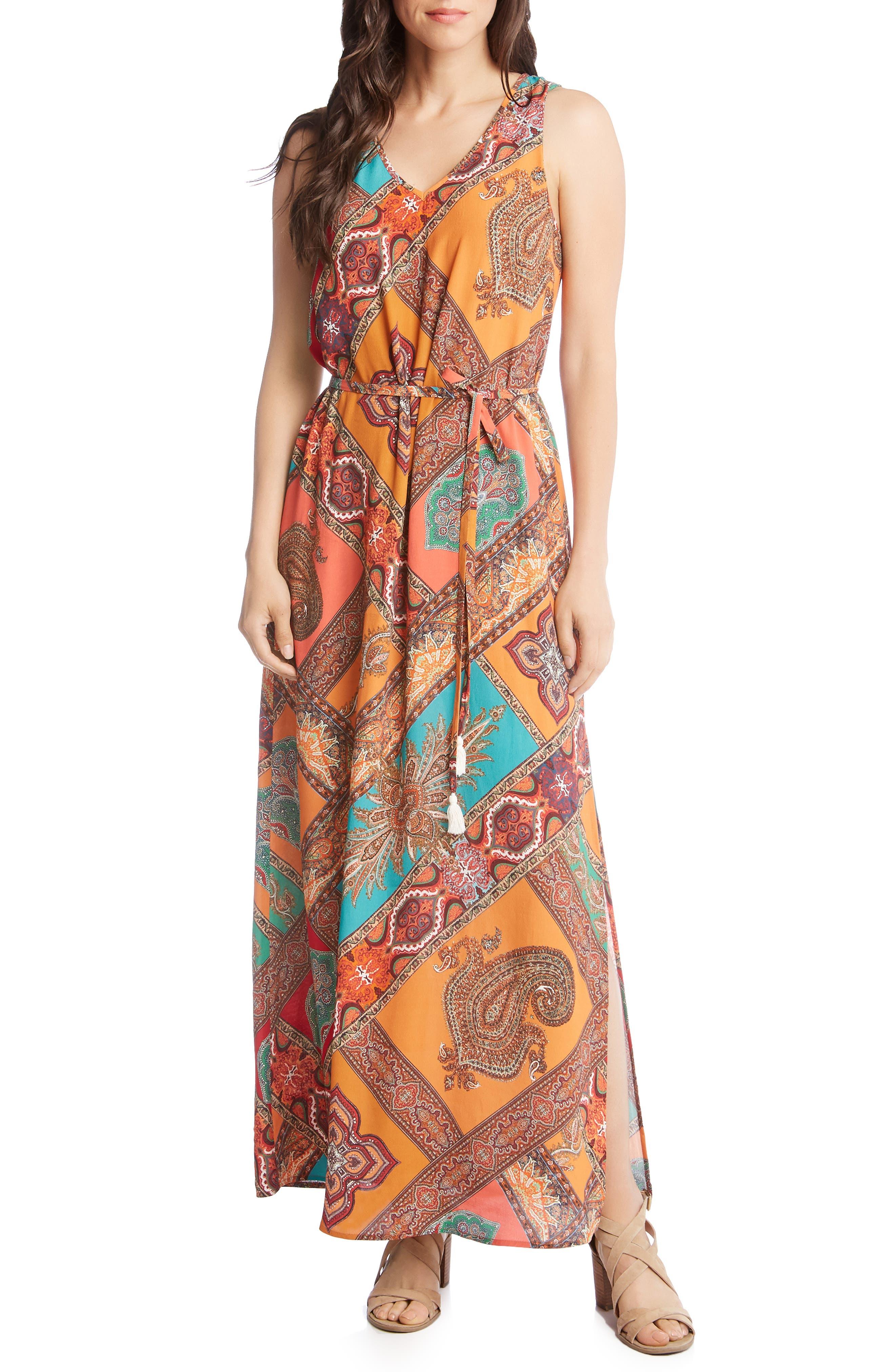 Karen Kane Print Maxi Dress, Orange