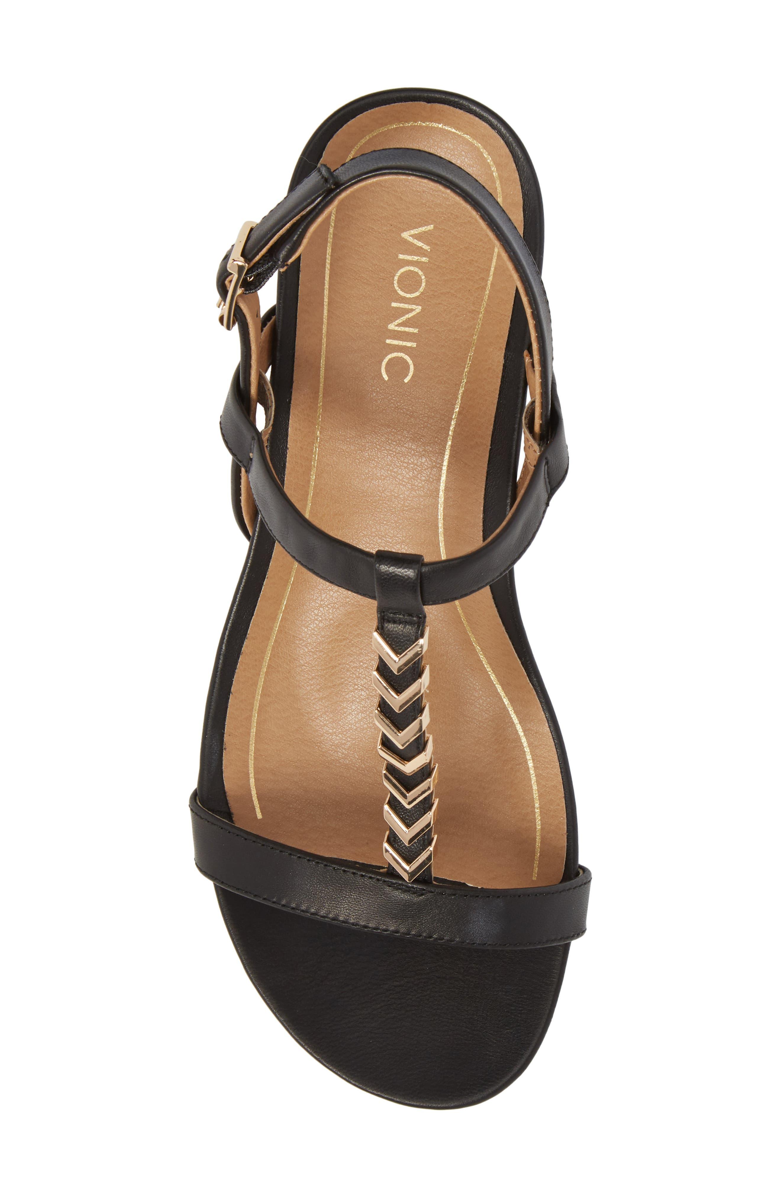 VIONIC,                             Cali T-Strap Wedge Sandal,                             Alternate thumbnail 5, color,                             001