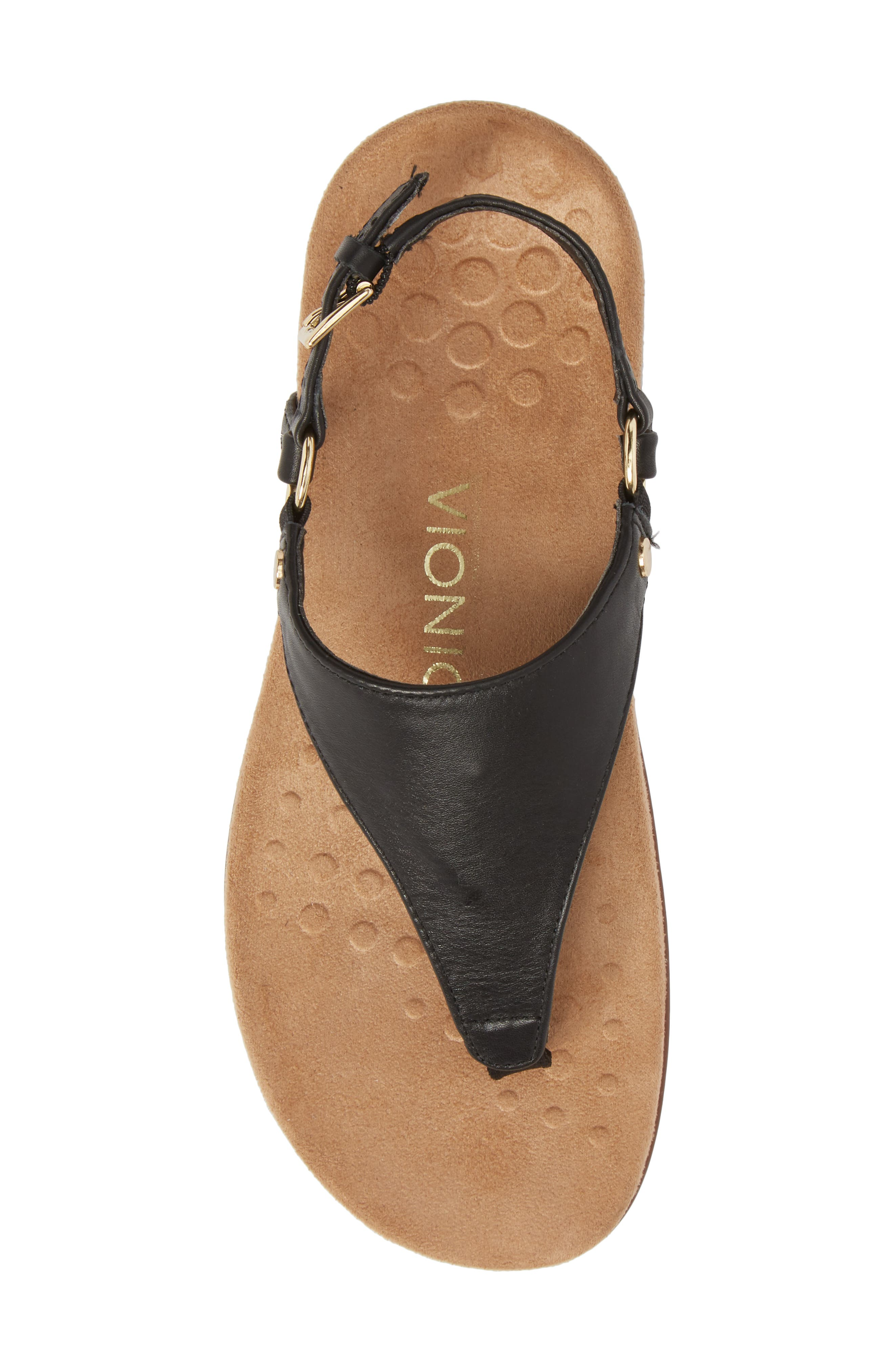 Kirra Orthaheel<sup>®</sup> Sandal,                             Alternate thumbnail 5, color,                             BLACK LEATHER