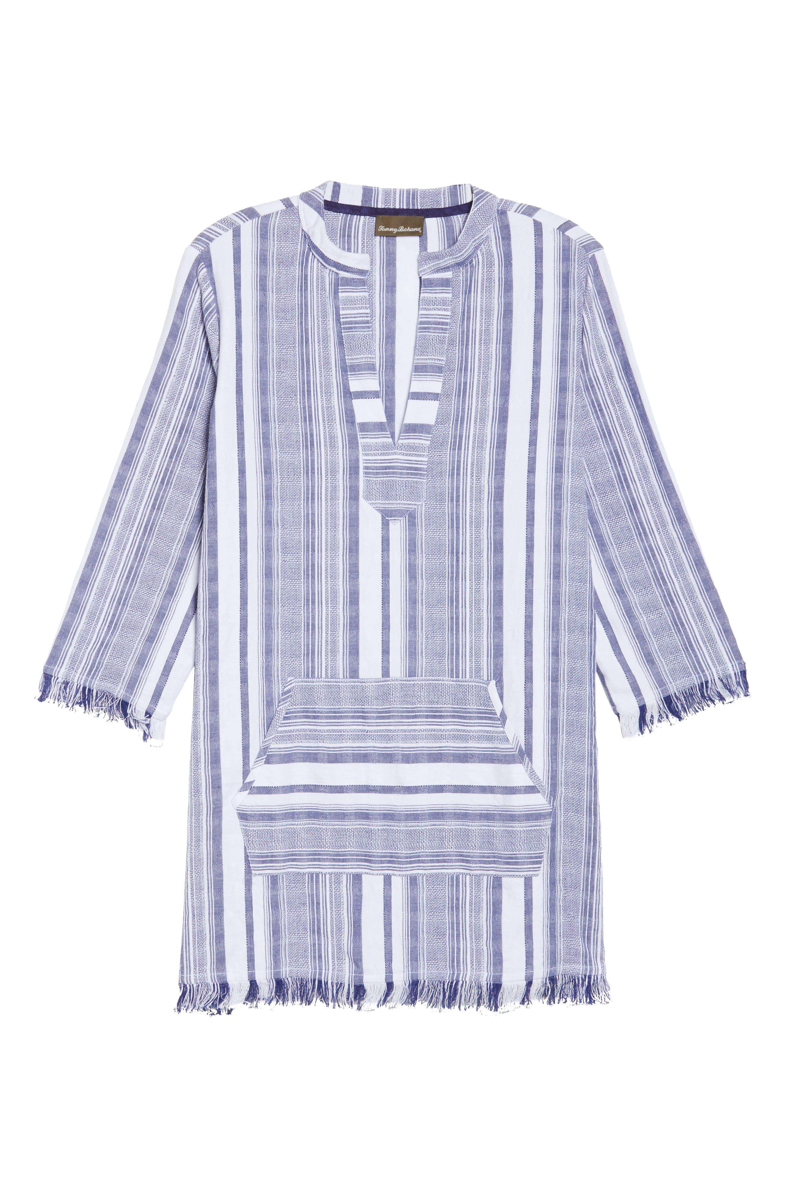 Yarn Dye Stripe Cover-Up Tunic,                             Alternate thumbnail 6, color,                             100