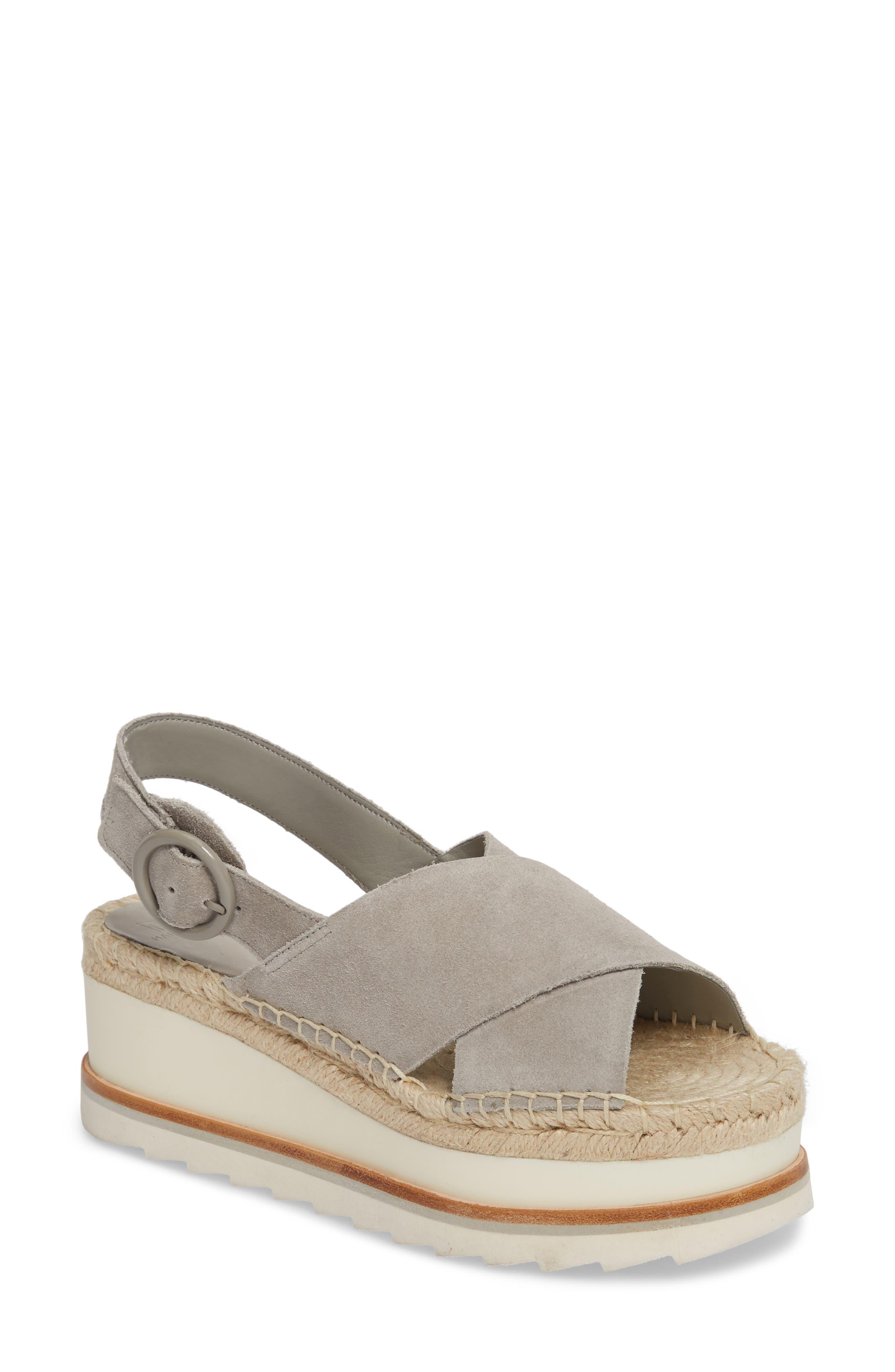 Glenna Platform Slingback Sandal,                         Main,                         color, GREY SUEDE