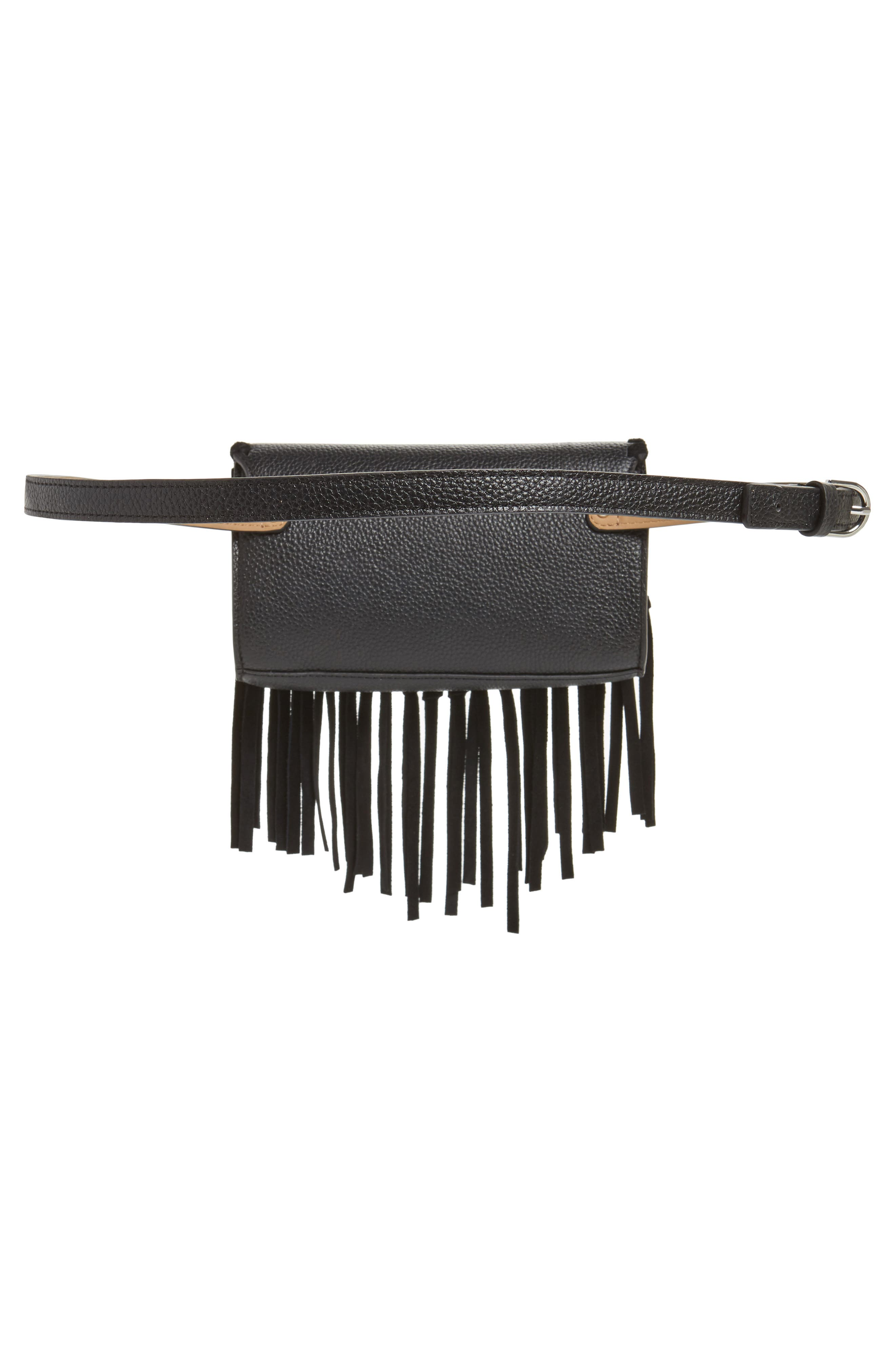 Fringe Leather Belt Bag,                             Alternate thumbnail 4, color,                             BLACK / POL SILVER