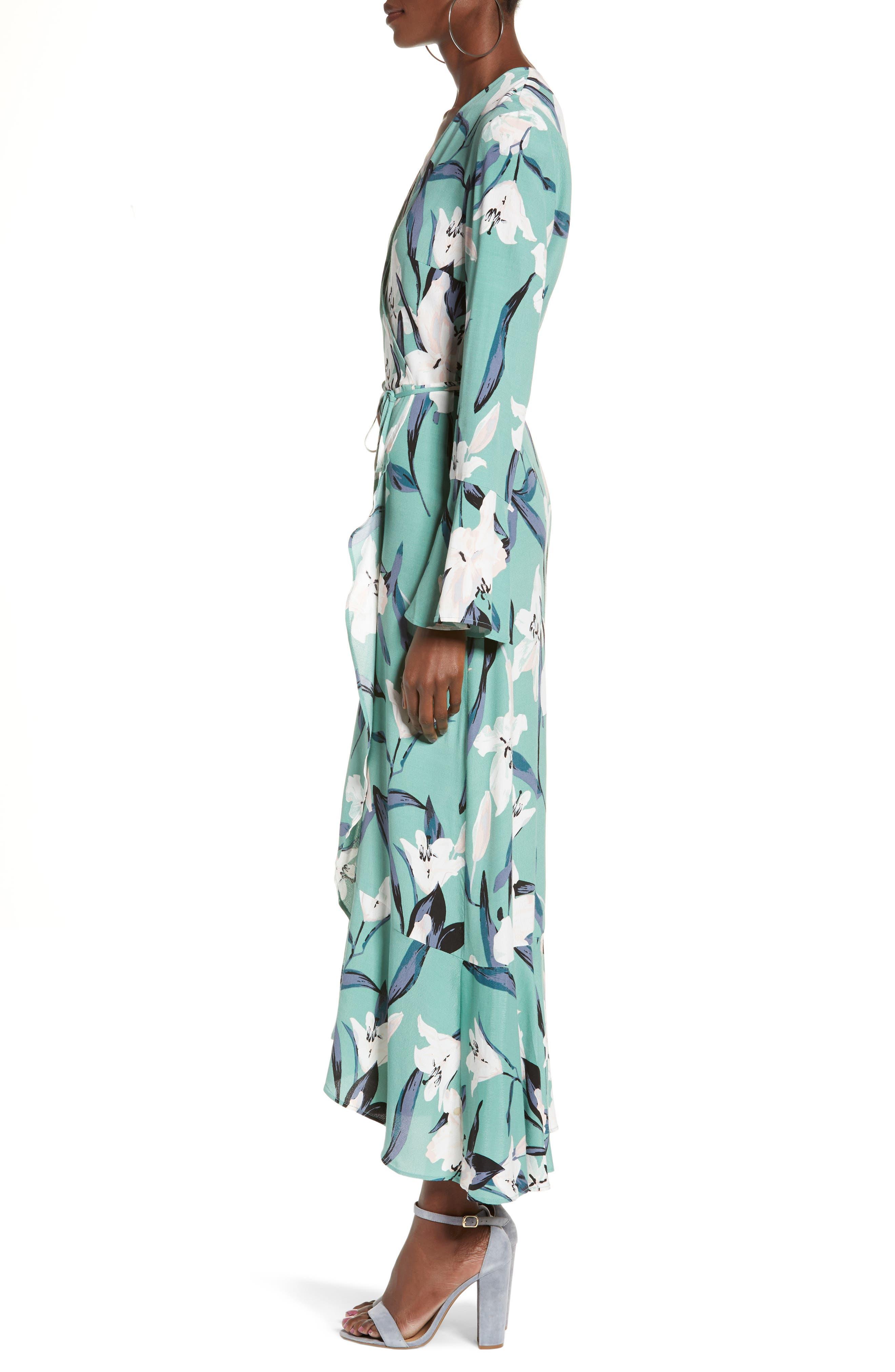 LEITH,                             Bell Sleeve Wrap Midi Dress,                             Alternate thumbnail 3, color,                             GREEN WING ROMANTIC FLR