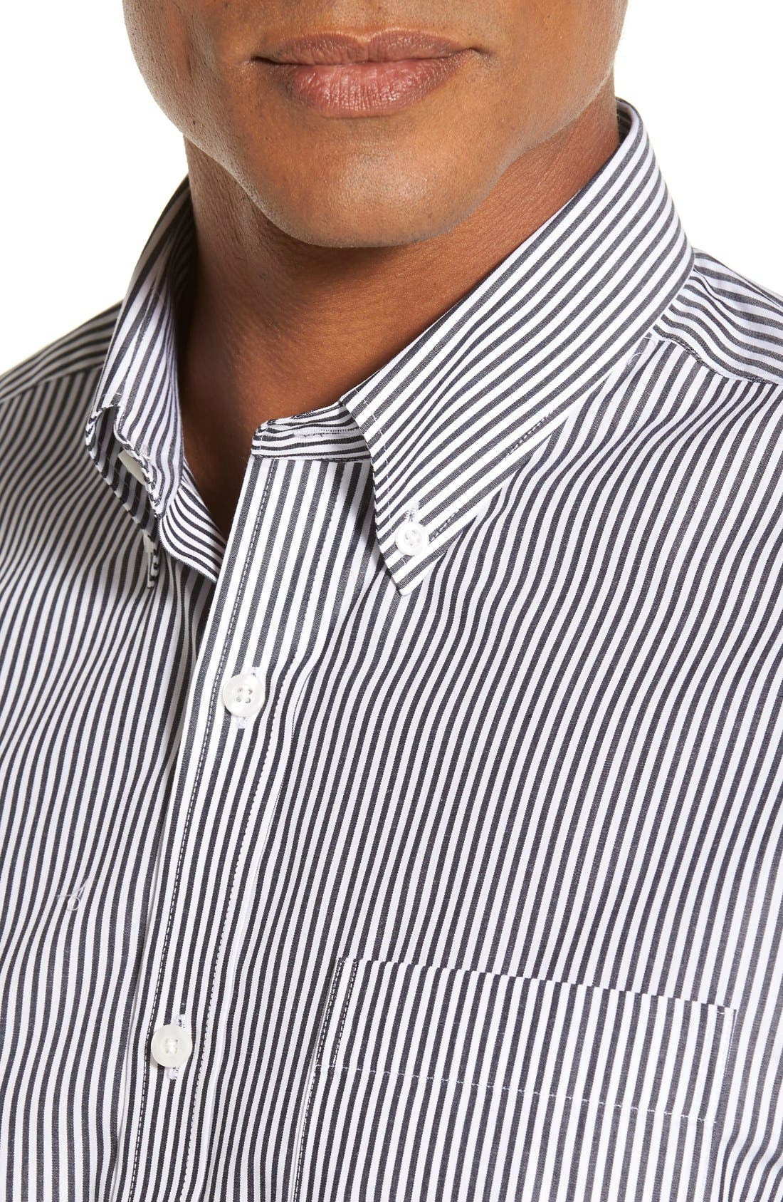 'Epic Easy Care' Regular Fit Mini Bengal Stripe Sport Shirt,                             Alternate thumbnail 2, color,                             CHARCOAL