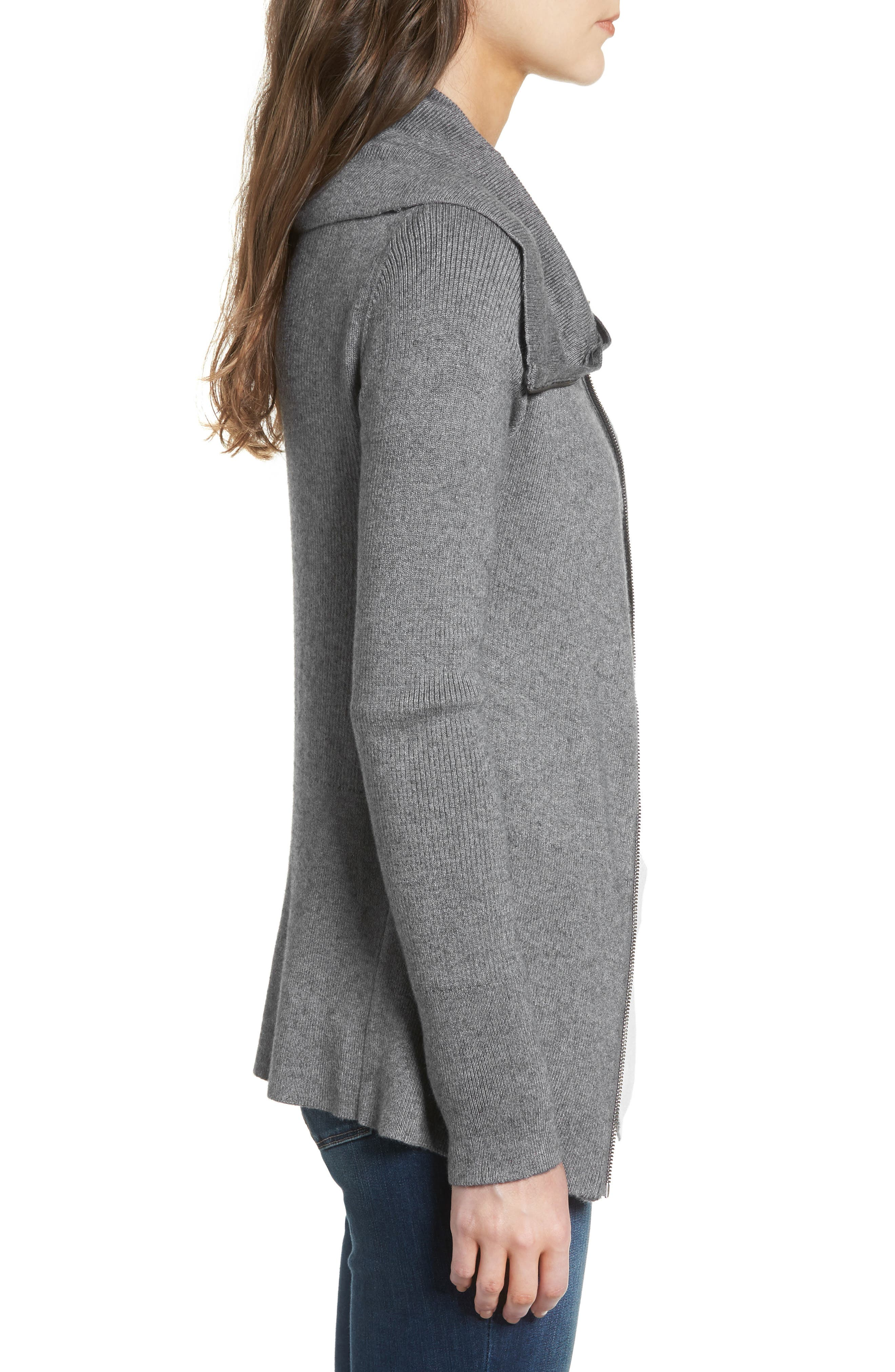 Wide Collar Zip Sweater,                             Alternate thumbnail 3, color,