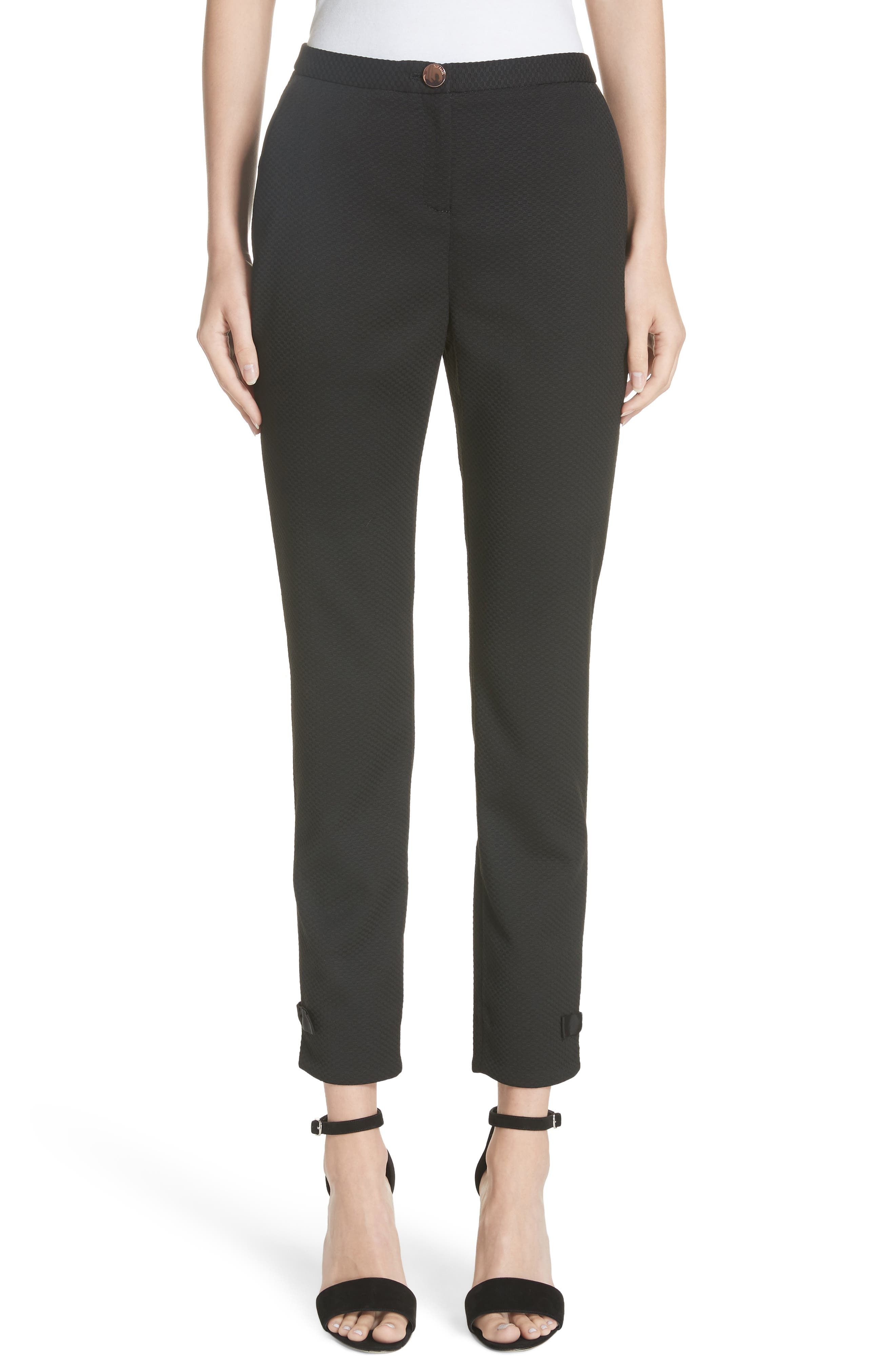 Ted Working Title Nadaet Bow Detail Textured Trousers,                         Main,                         color, BLACK