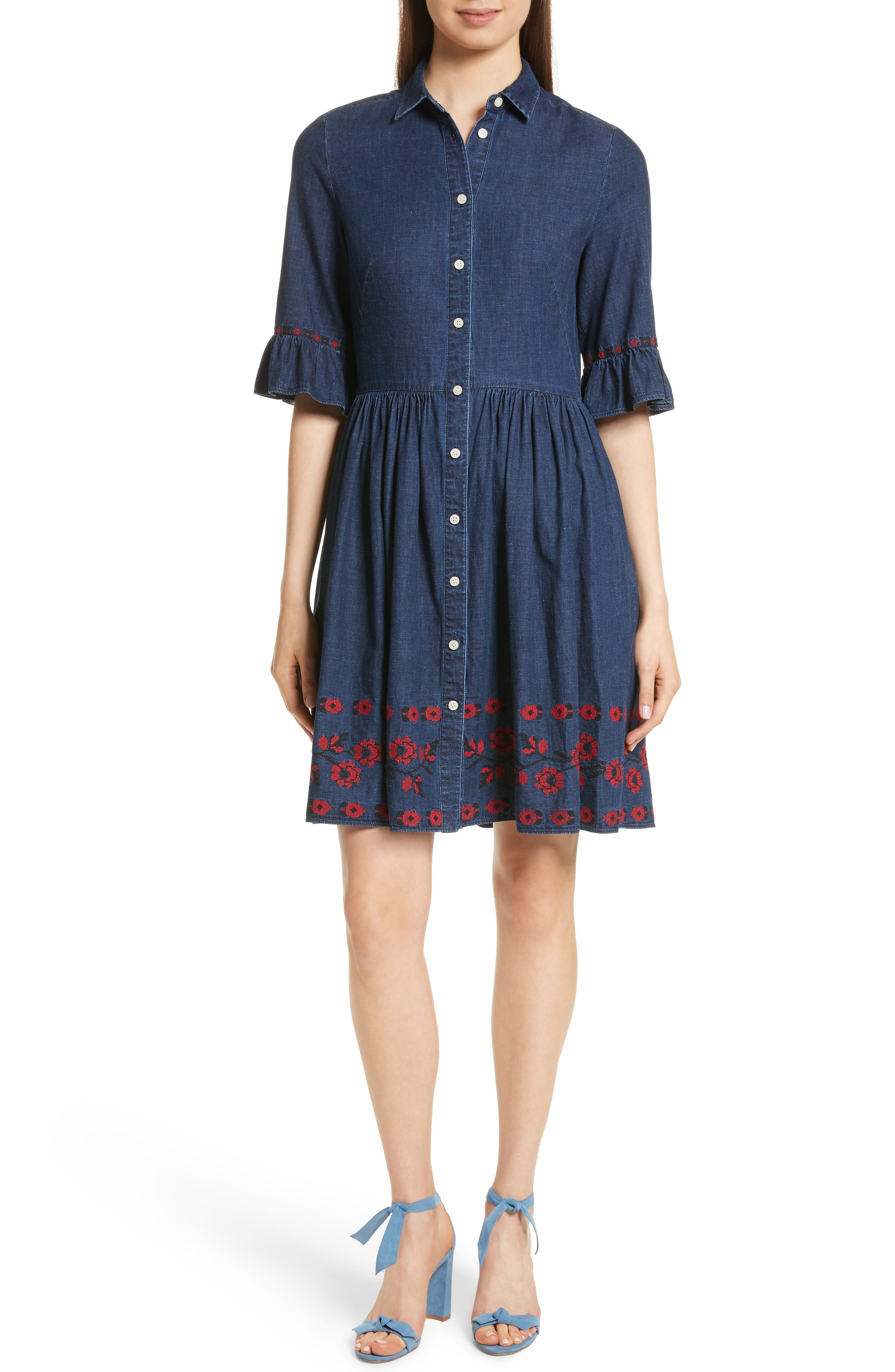 embroidered chambray shirtdress,                         Main,                         color, 429