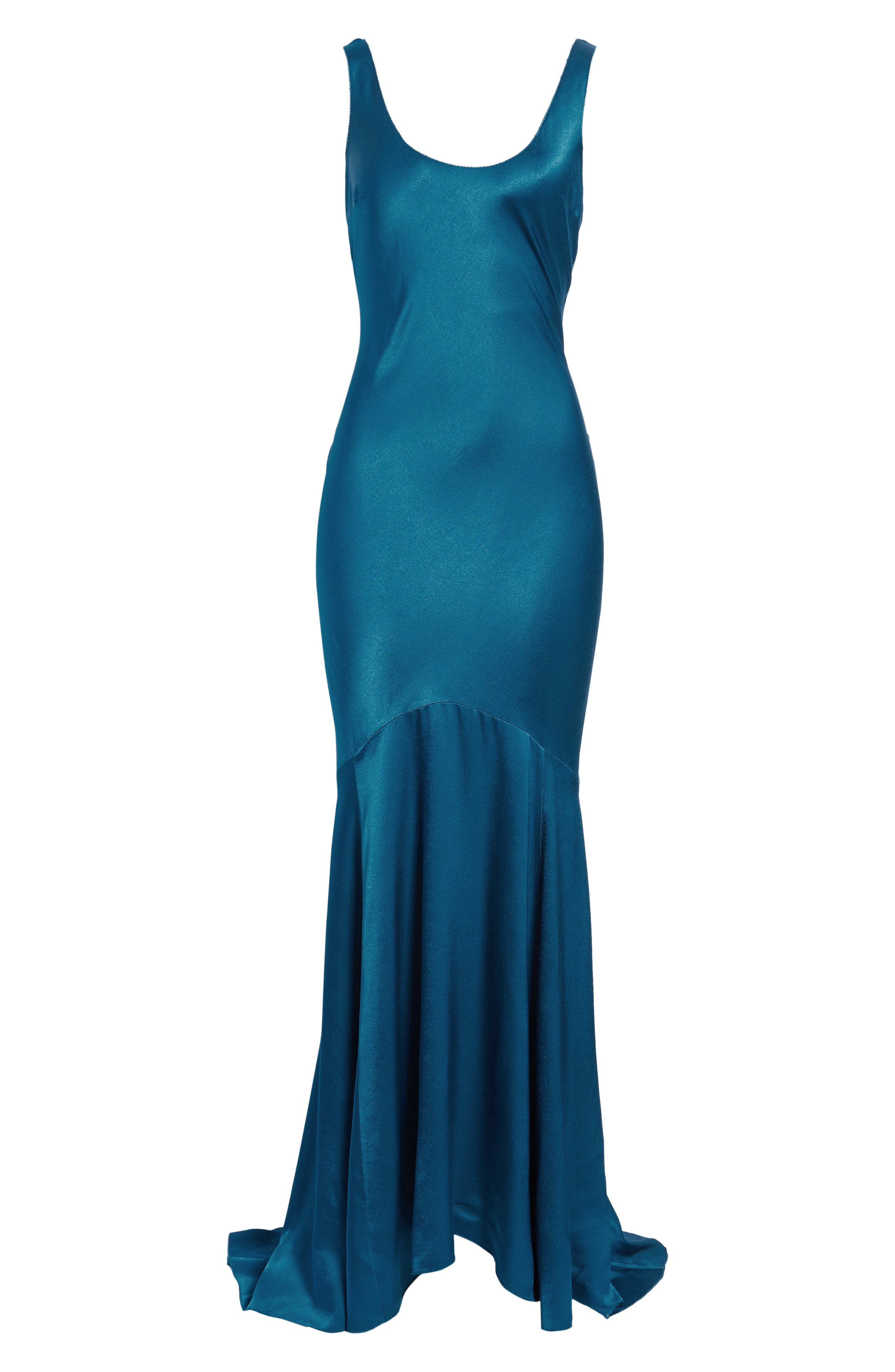 Satin Fishtail Gown,                             Alternate thumbnail 11, color,