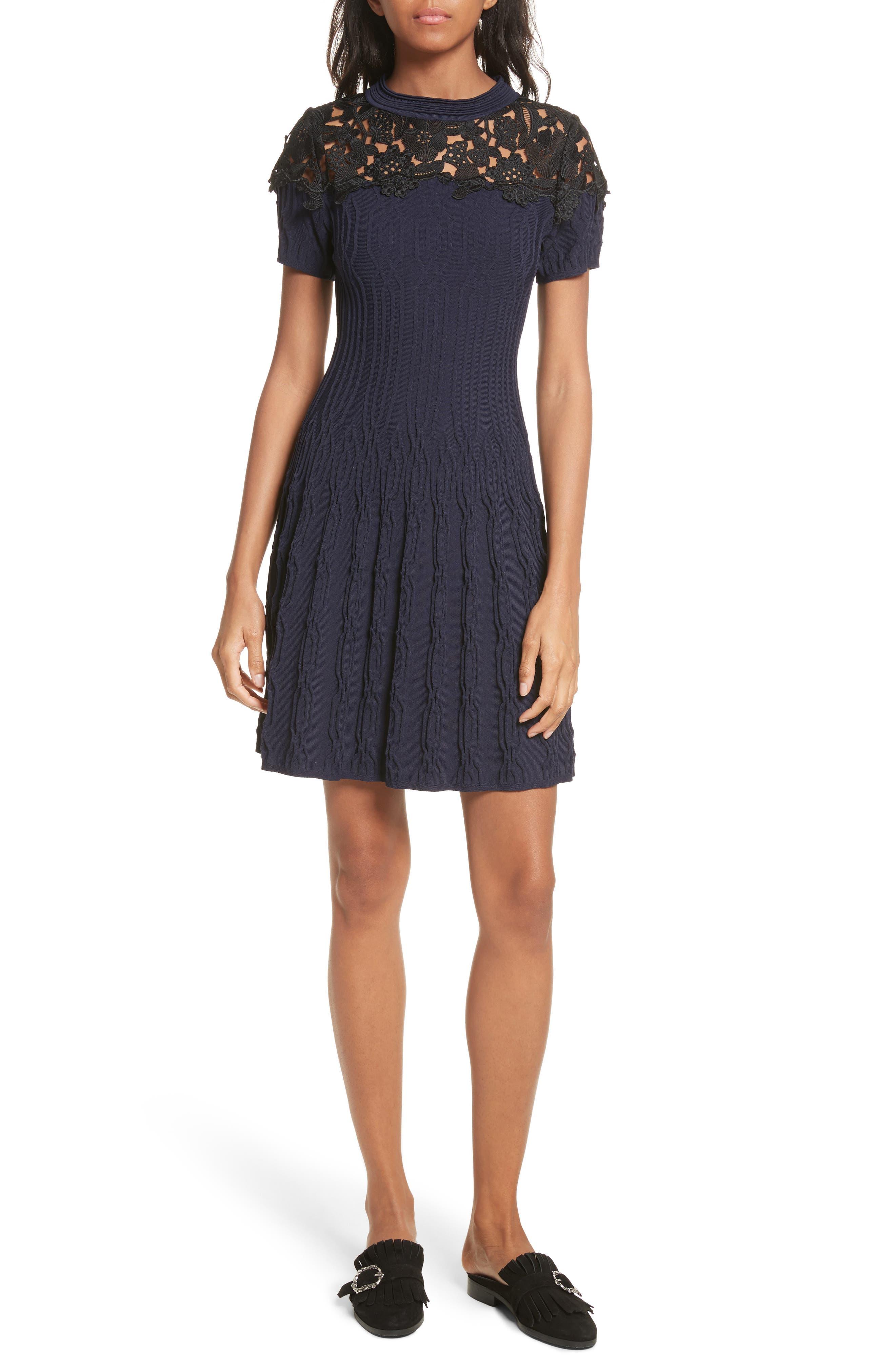 Lace Yoke Dress,                             Alternate thumbnail 5, color,                             400