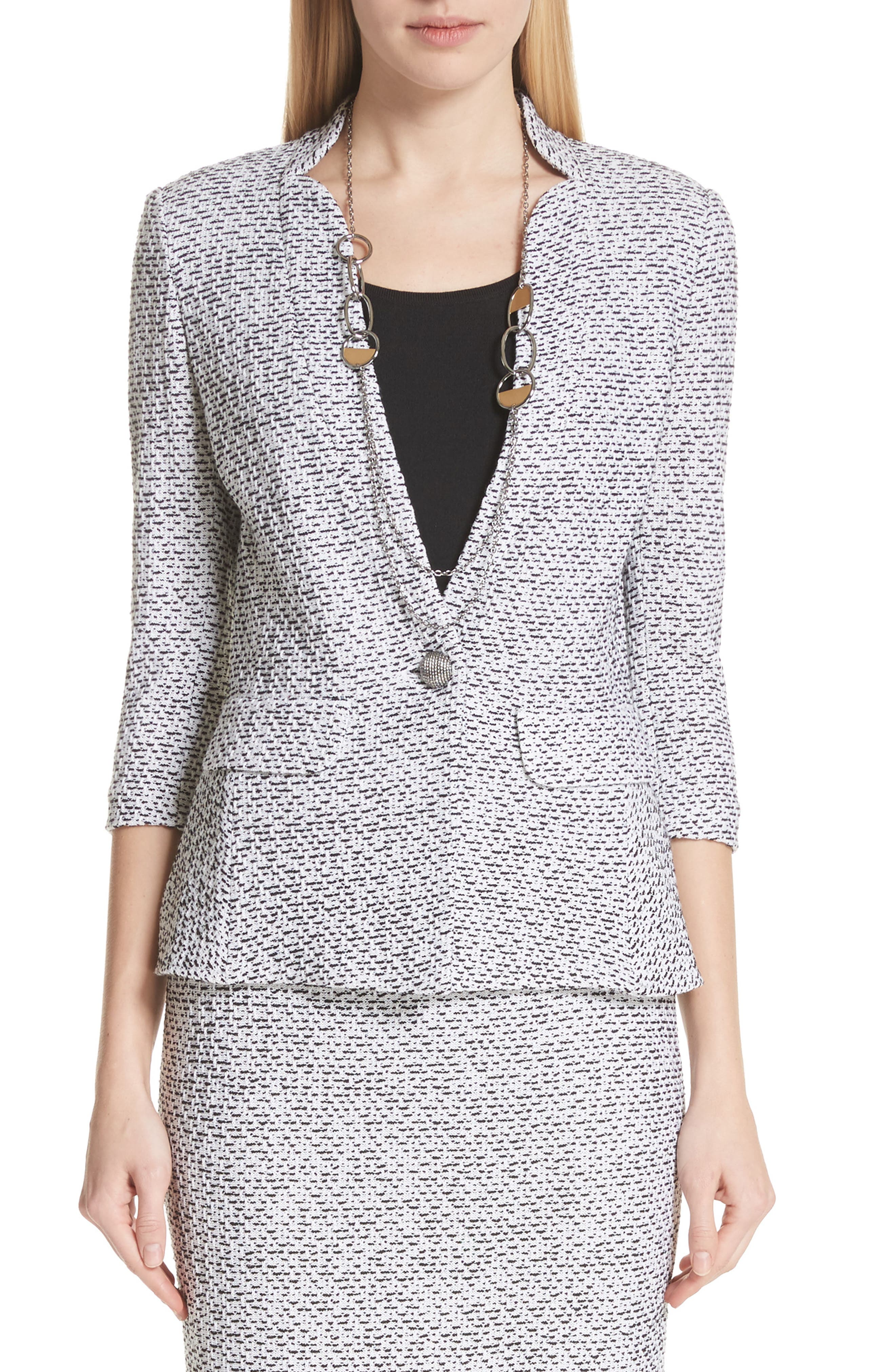 Olivia Bouclé Knit Jacket,                             Main thumbnail 1, color,                             WHITE/ CAVIAR