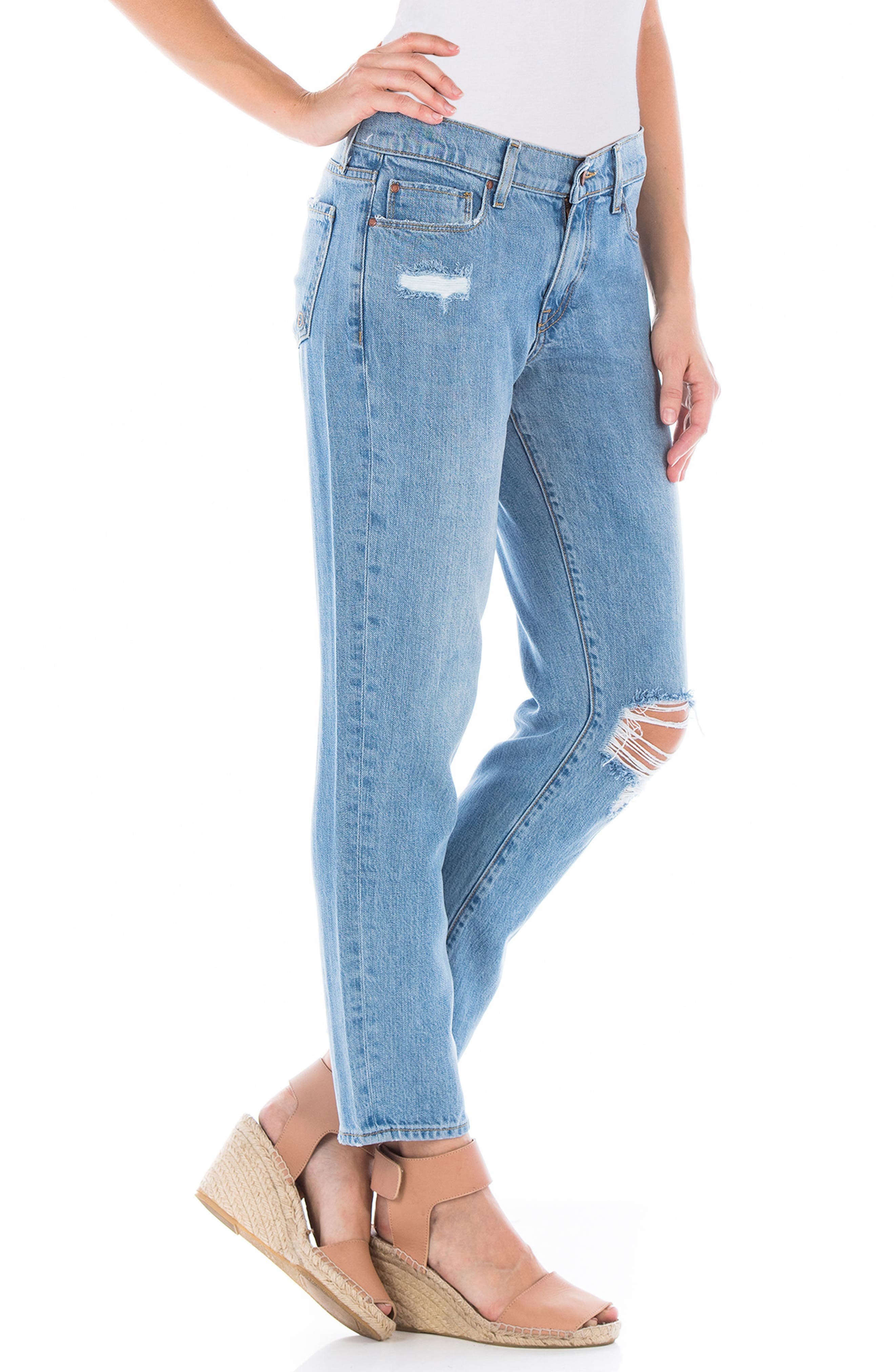 Axl Ripped Crop Girlfriend Jeans,                             Alternate thumbnail 3, color,                             400