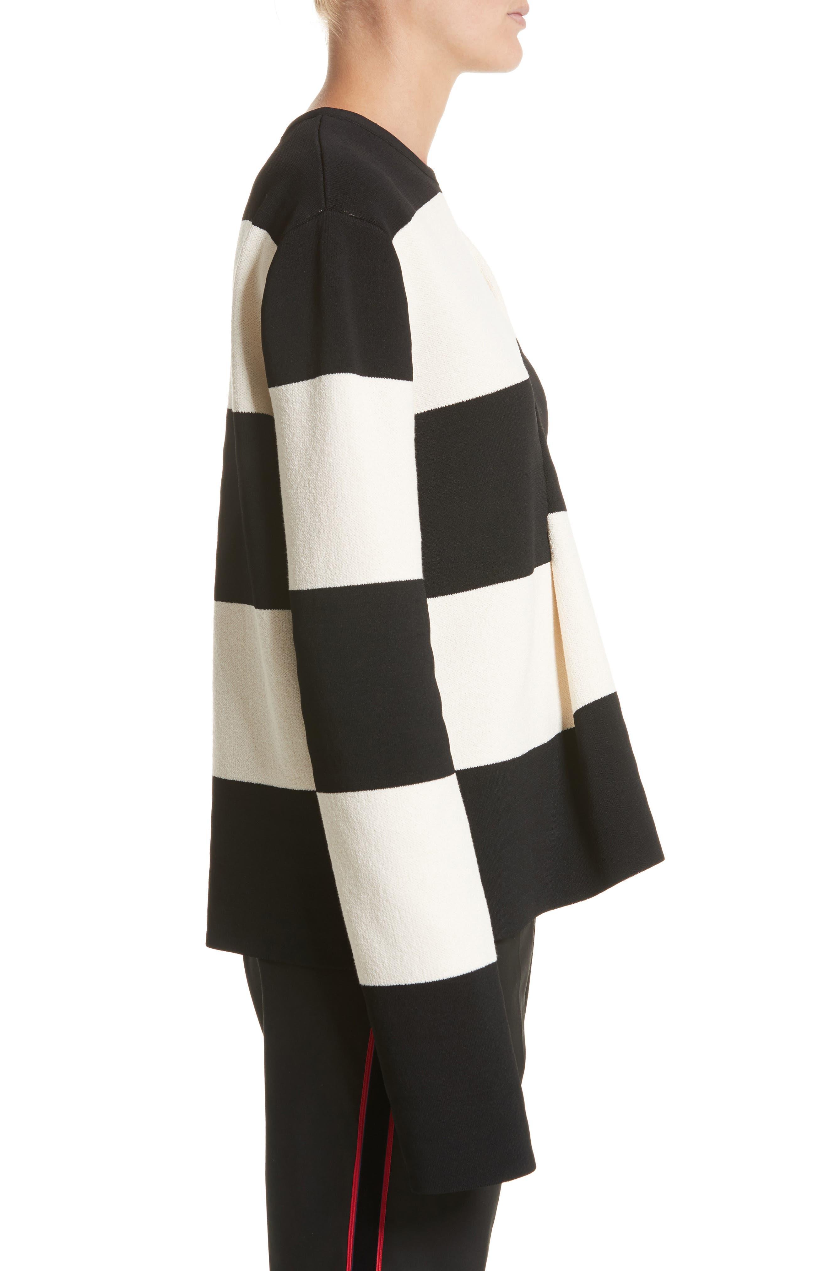 Folded Stripe Sweater,                             Alternate thumbnail 3, color,                             001
