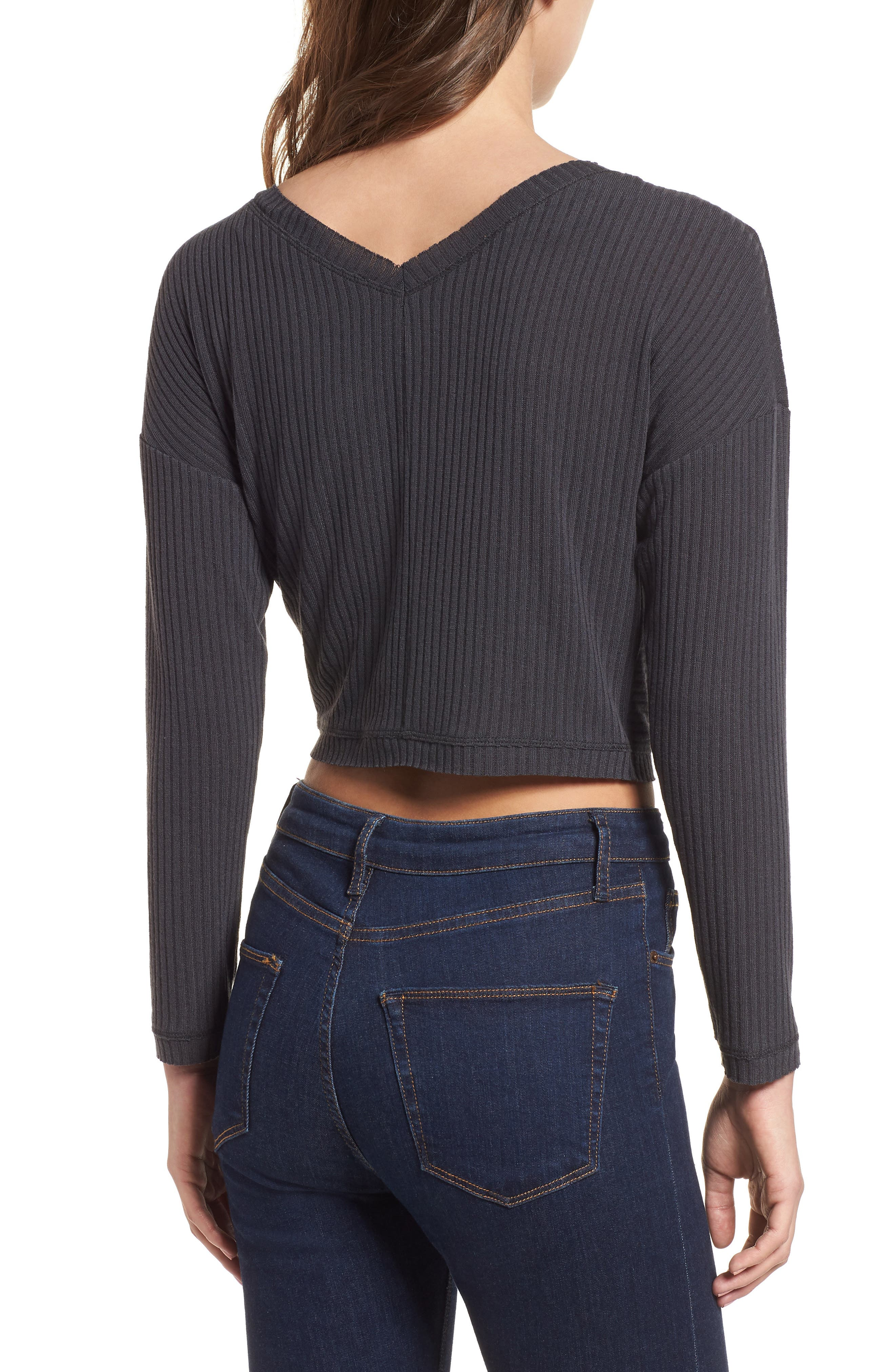 Twist Front Cropped Top,                             Alternate thumbnail 2, color,                             020