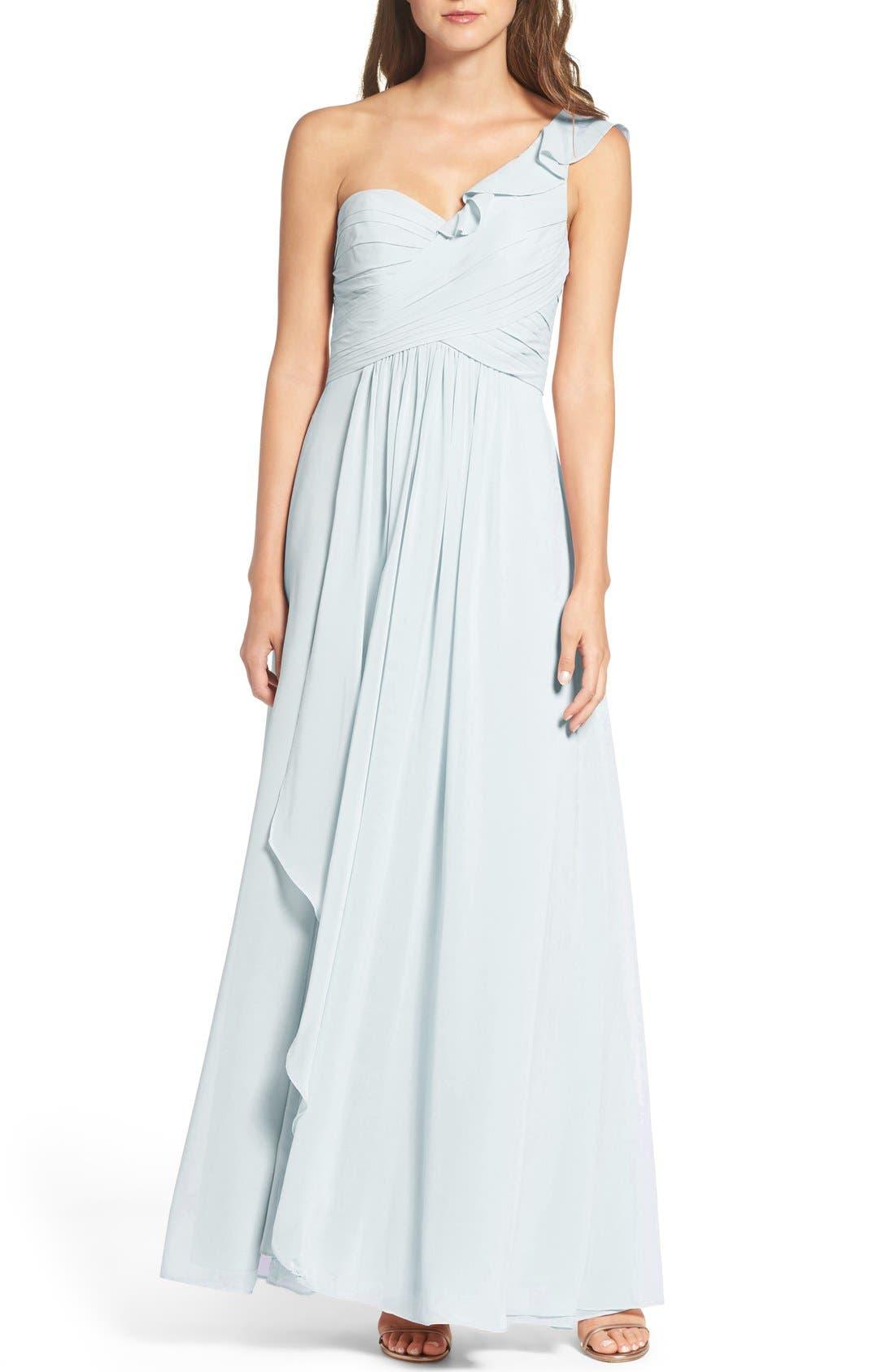 One-Shoulder Chiffon Dress,                             Main thumbnail 1, color,                             400