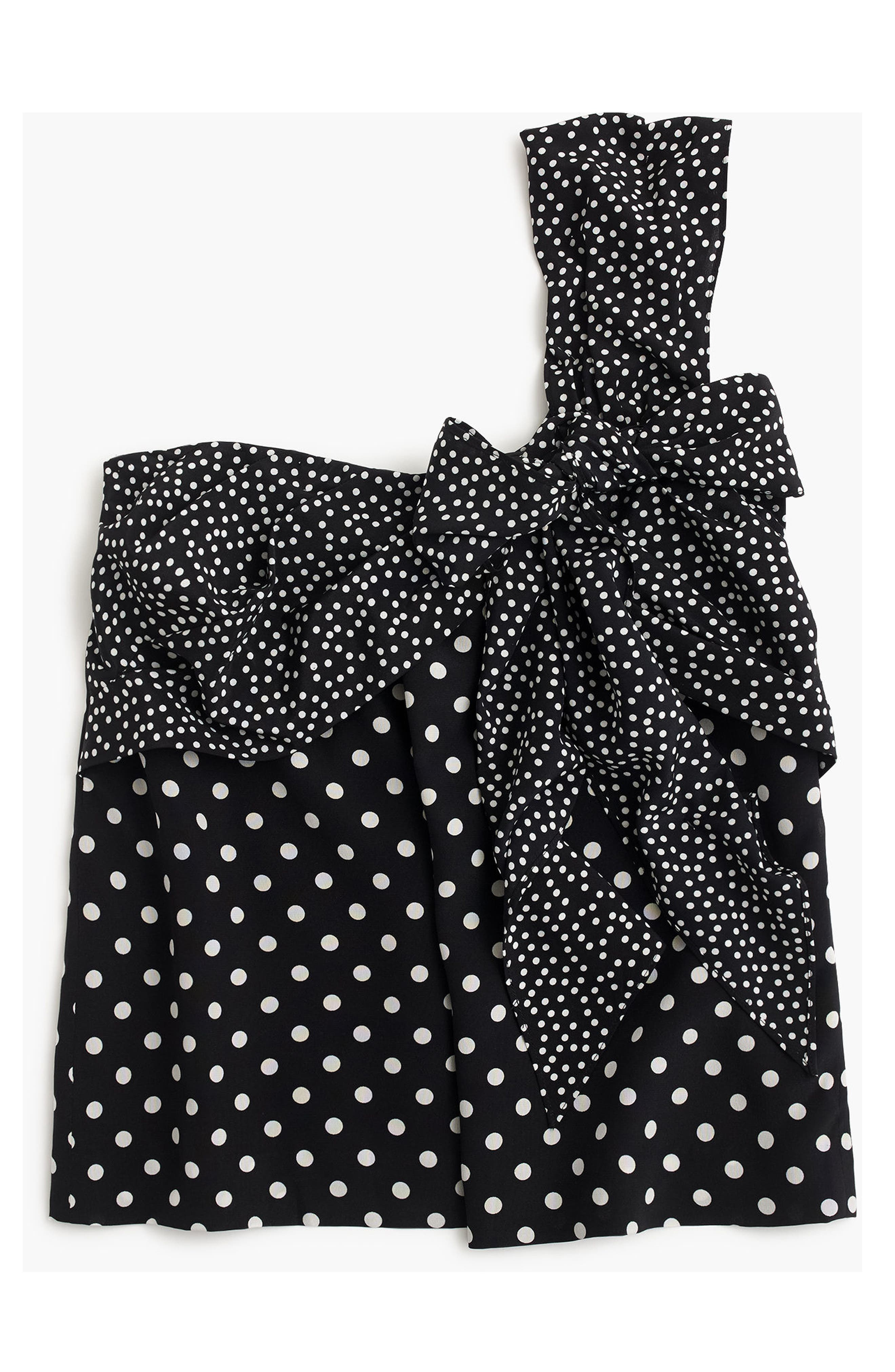 Polka Dot Silk One-Shoulder Bow Top,                             Alternate thumbnail 3, color,                             009