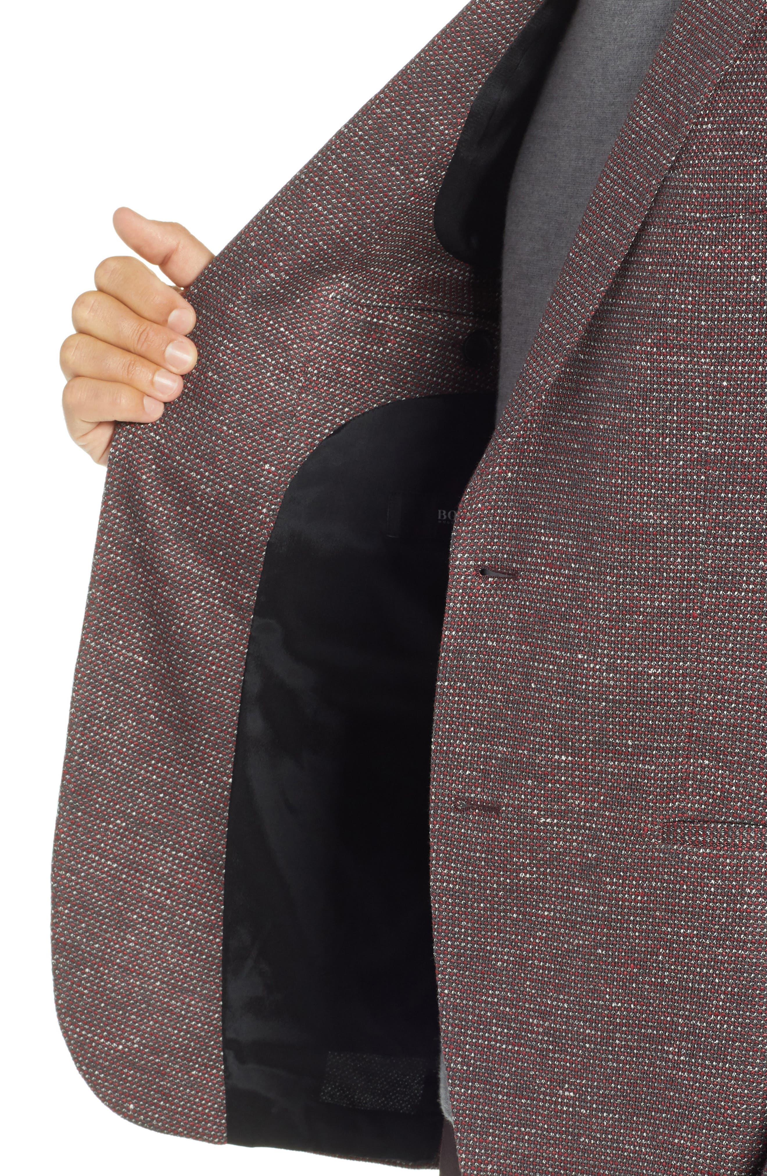 Norwin Trim Fit Cotton Blend Sport Coat,                             Alternate thumbnail 4, color,                             DARK RED