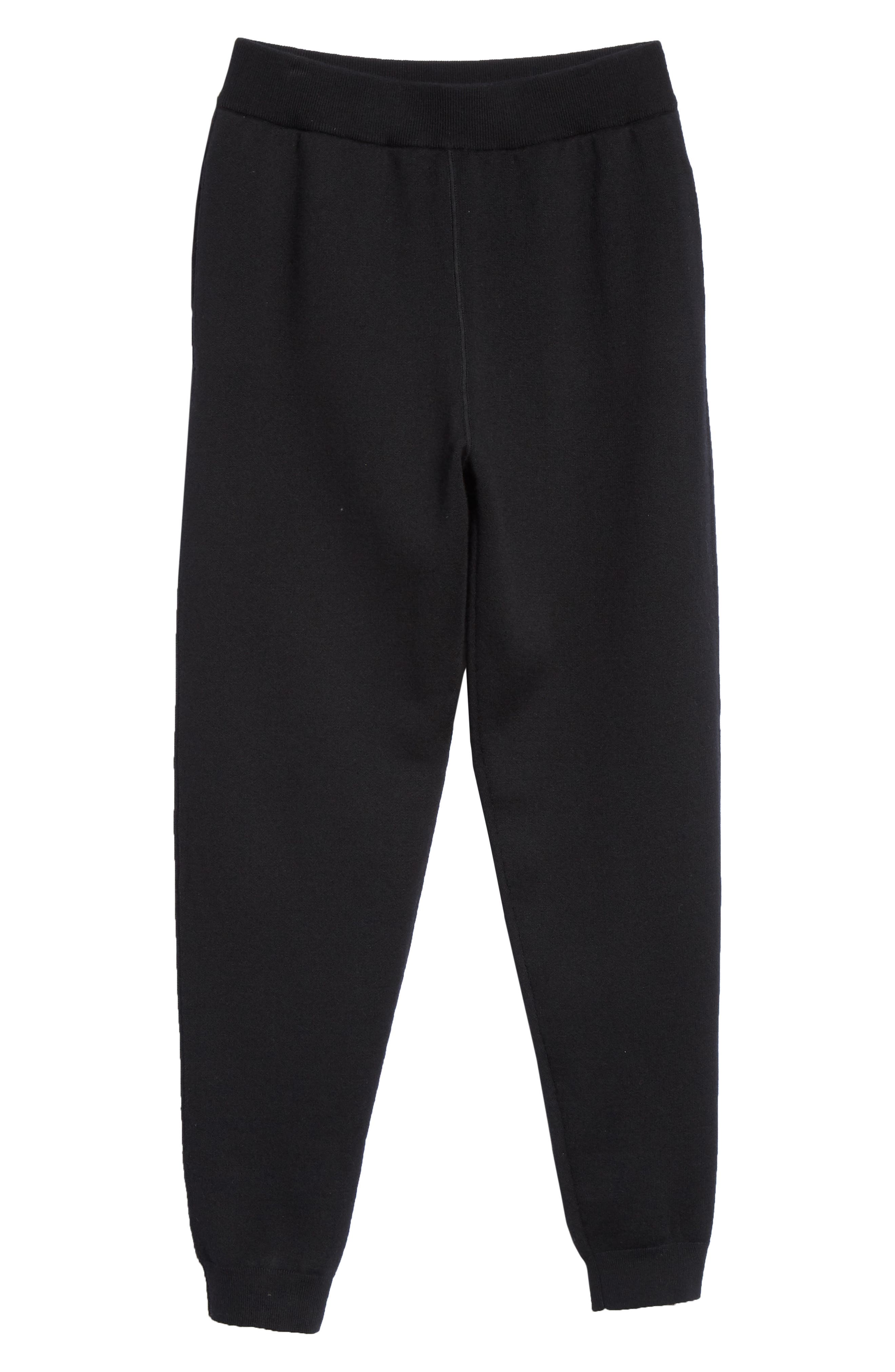 Trim Fit French Terry Wool Jogger Pants,                             Alternate thumbnail 6, color,                             BLACK