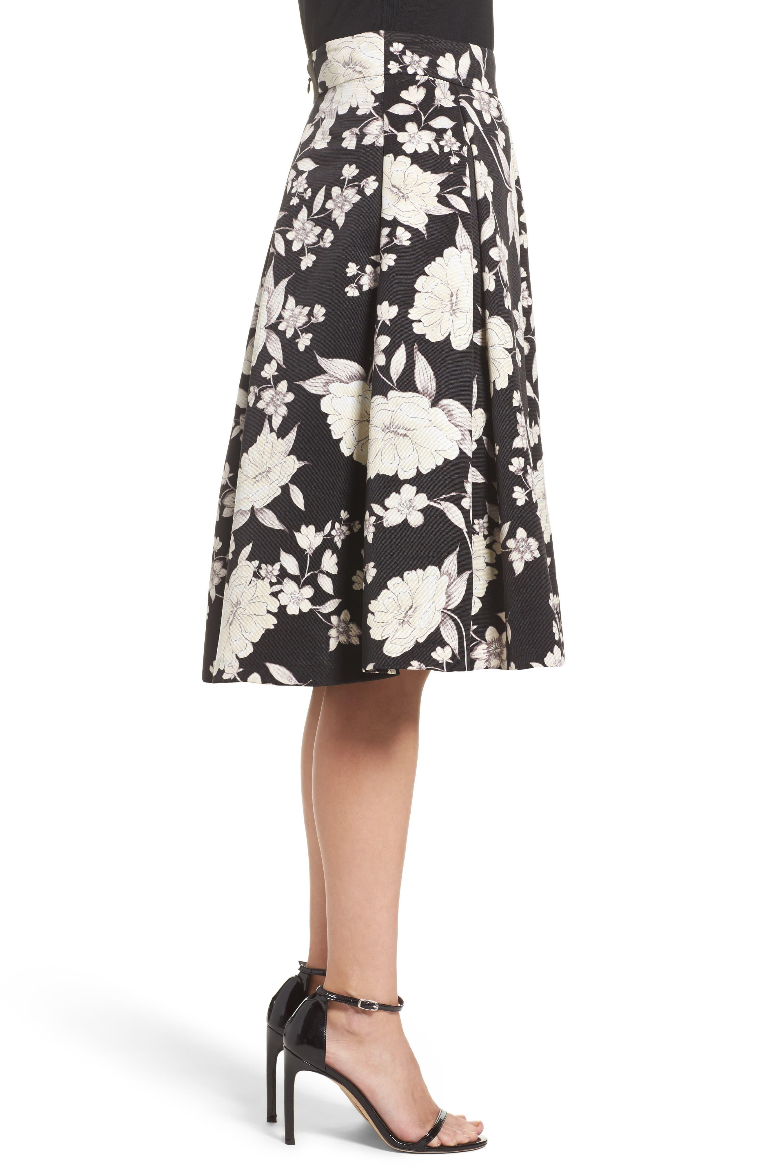 Floral Print Midi Skirt,                             Alternate thumbnail 3, color,                             003