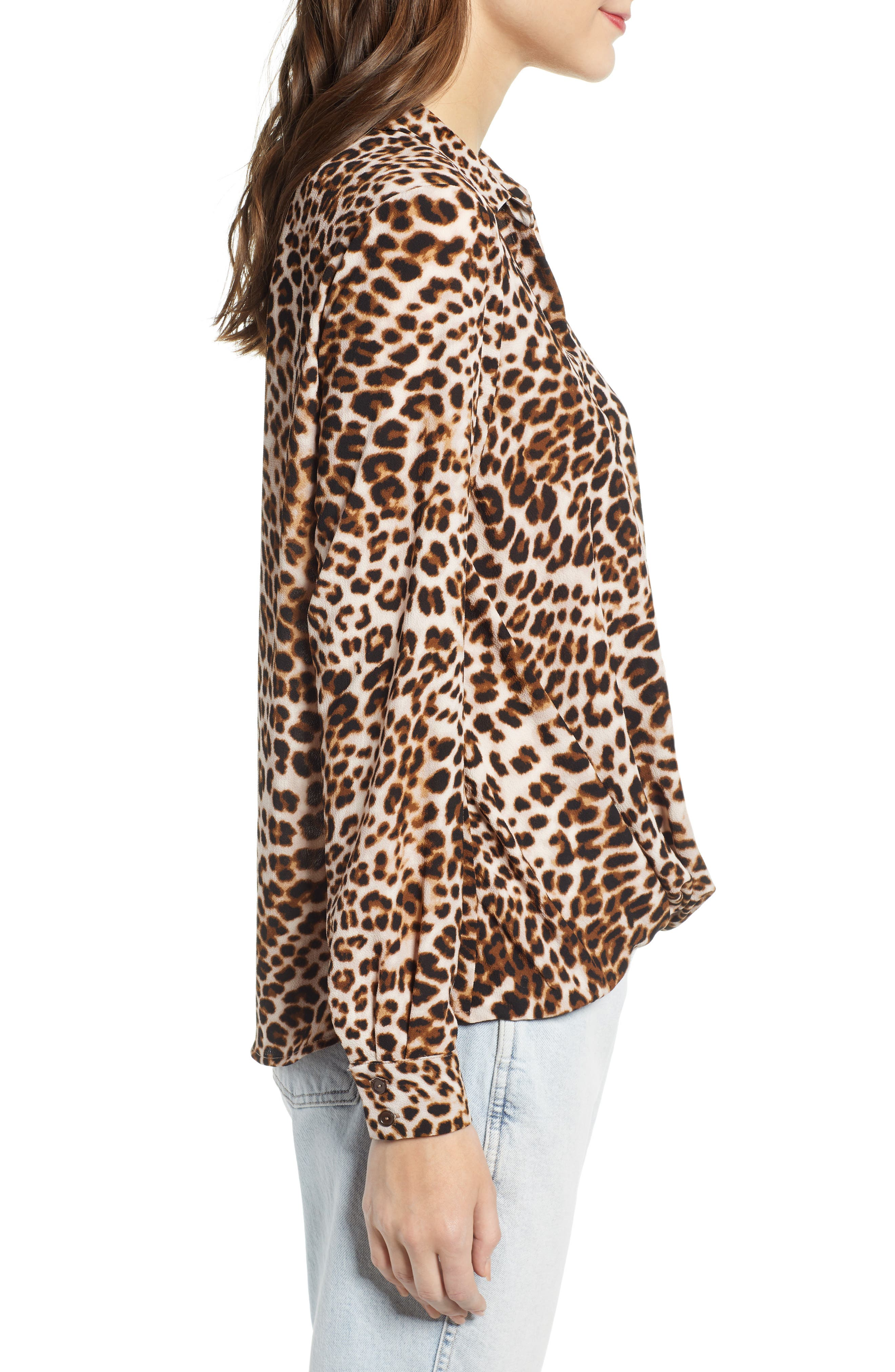 ALL IN FAVOR,                             Patterned Drape Front Blouse,                             Alternate thumbnail 3, color,                             LEOPARD PRINT