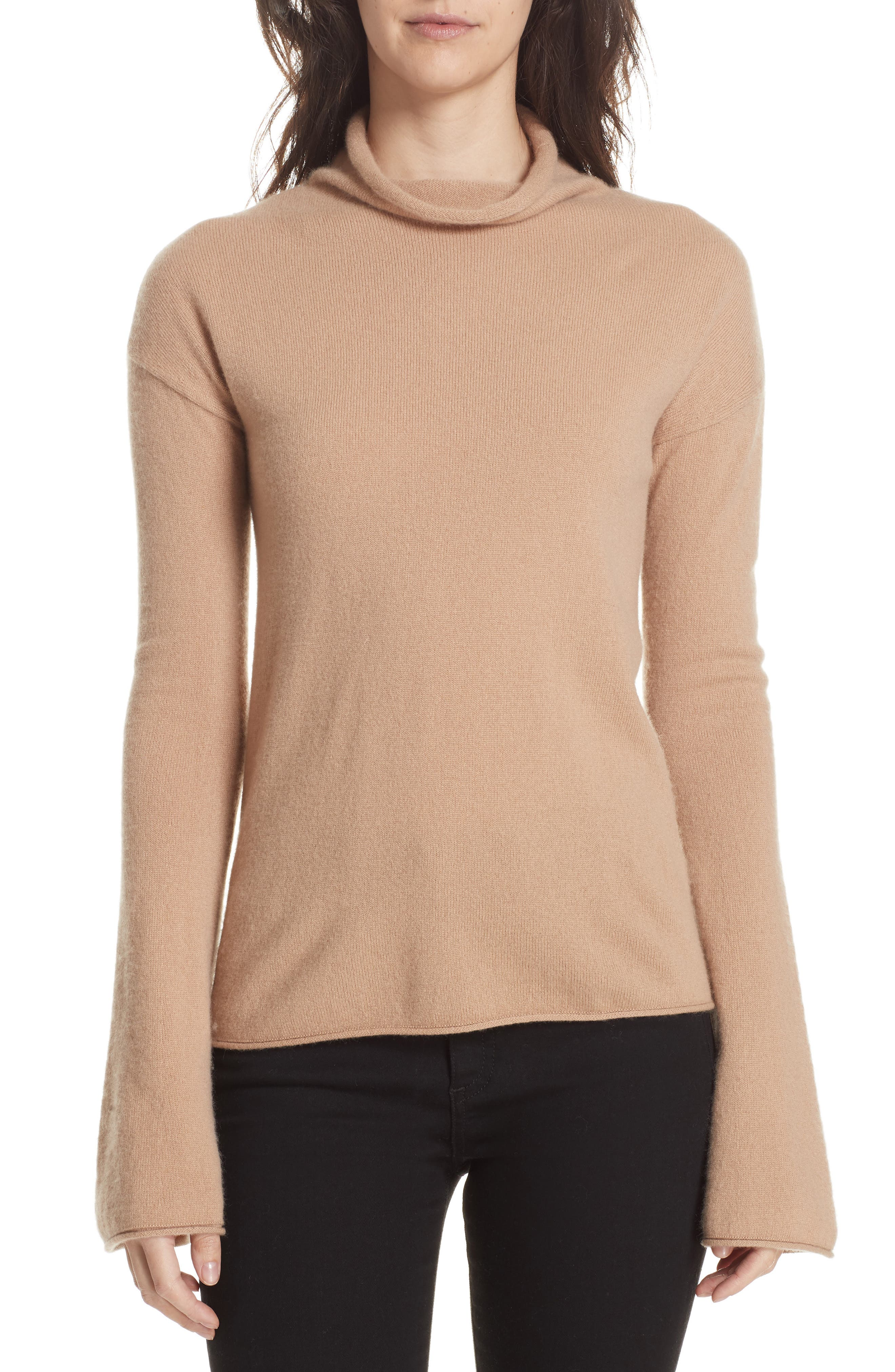 Bell-Sleeve Mock-Neck Cashmere Sweater in Camel