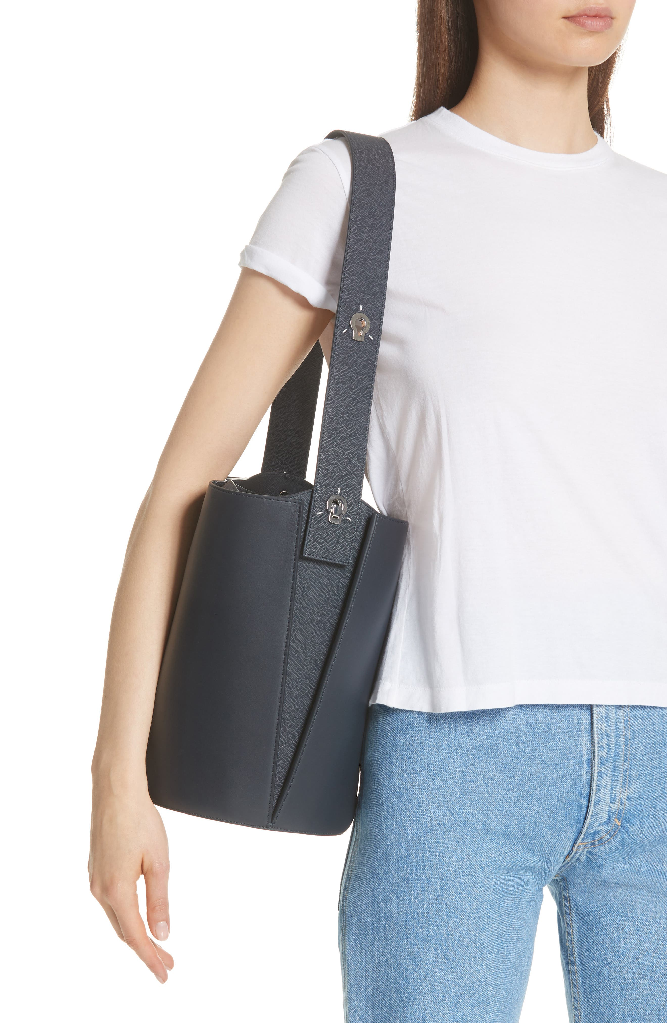 Mini Lorna Leather Bucket Bag,                             Alternate thumbnail 2, color,                             MARINE
