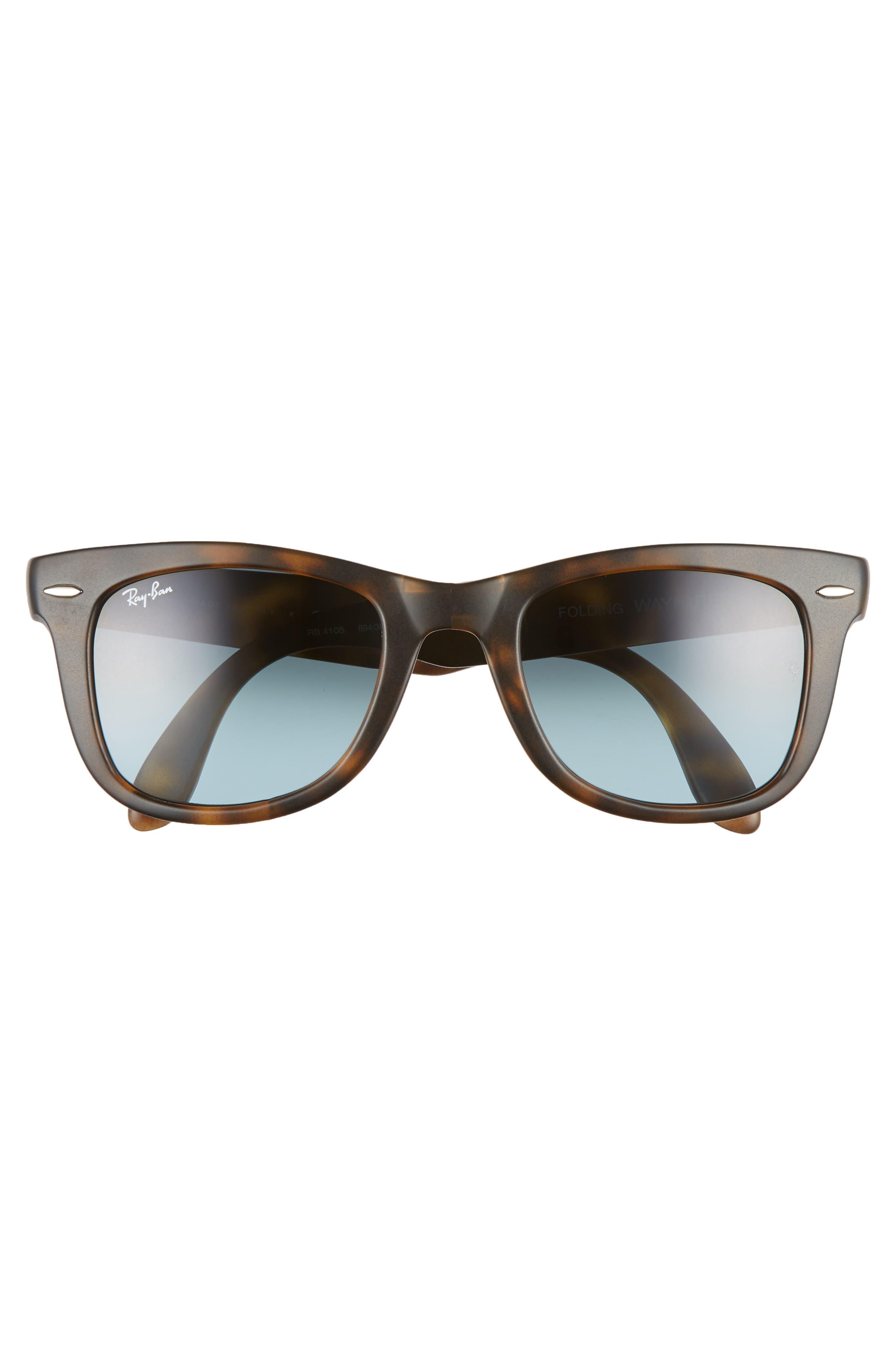 'Folding Wayfarer' 50mm Sunglasses,                             Alternate thumbnail 2, color,                             MATTE HAVANA