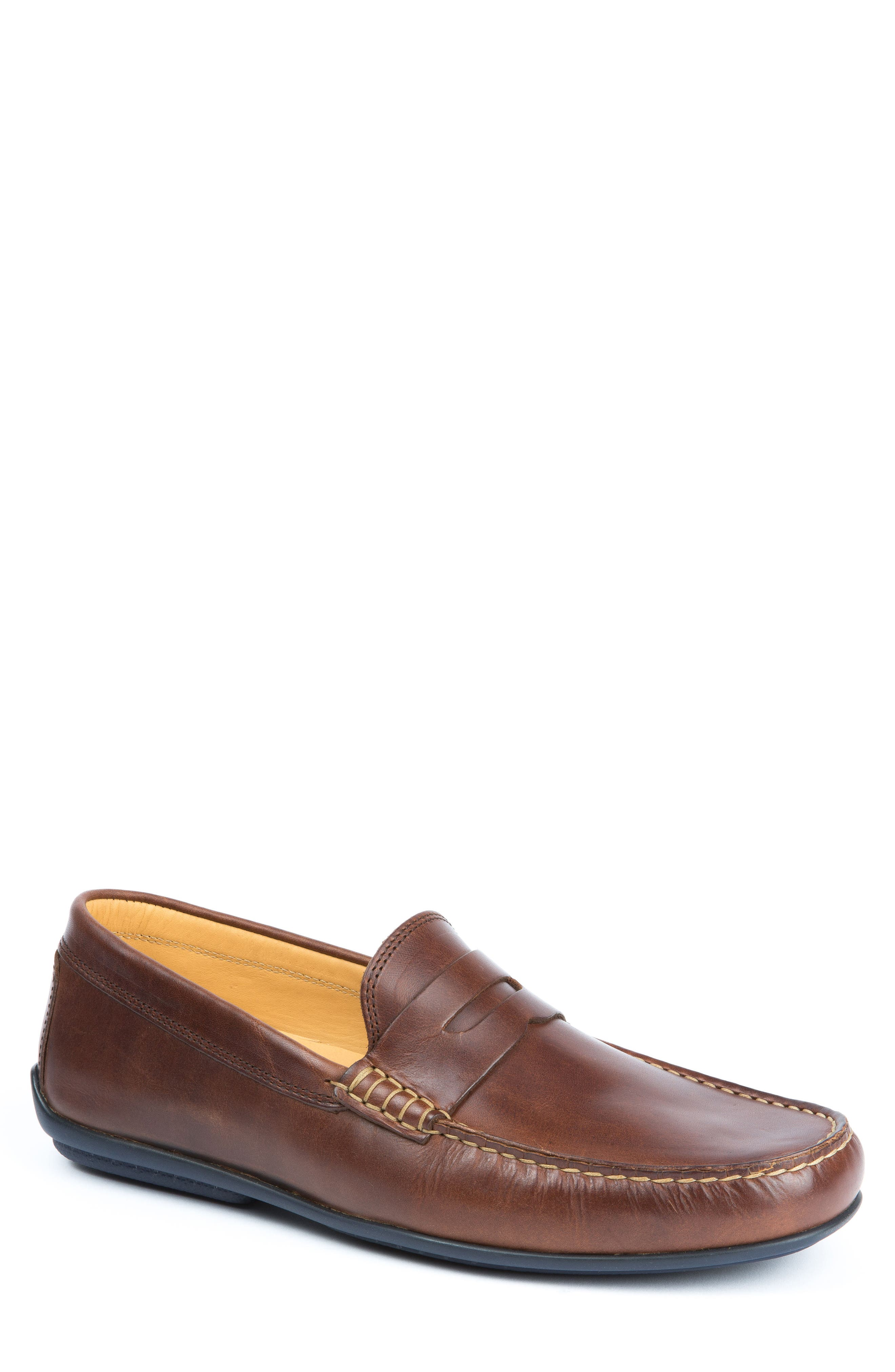 'Clinton' Leather Penny Loafer,                         Main,                         color, LIGHT BROWN