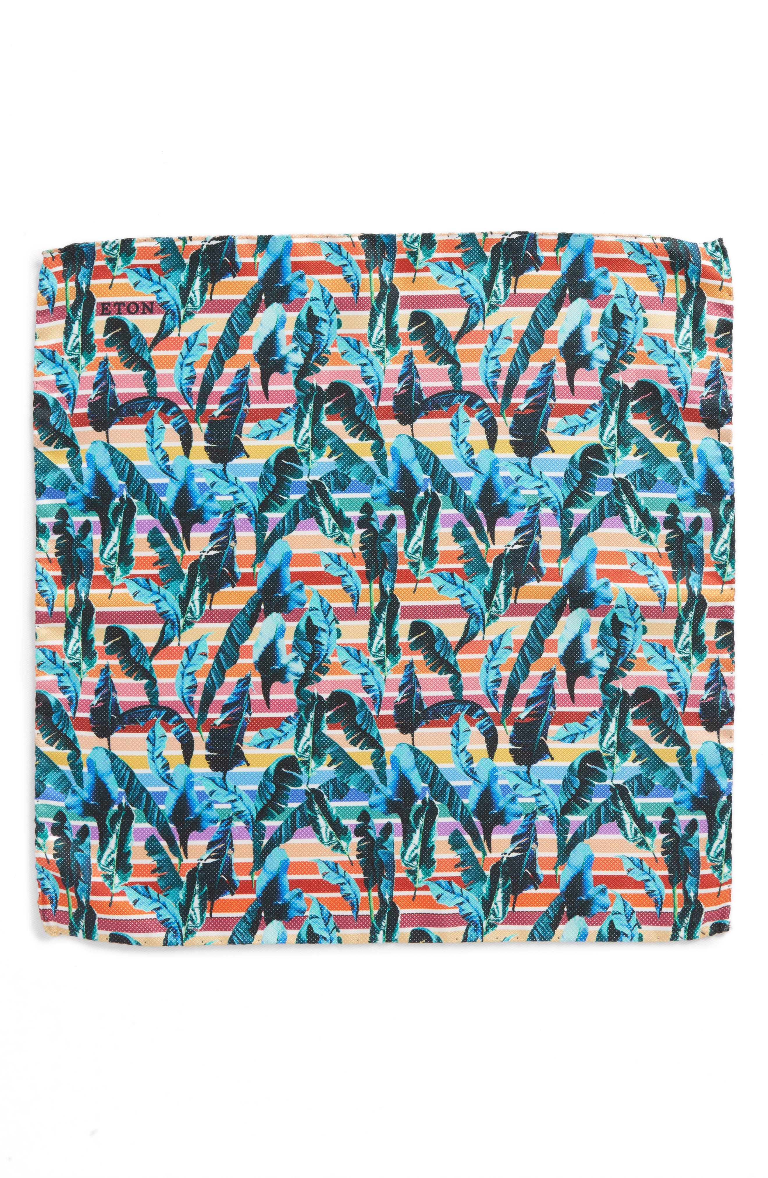 Tropical Leaf Silk Pocket Square,                             Alternate thumbnail 2, color,                             600