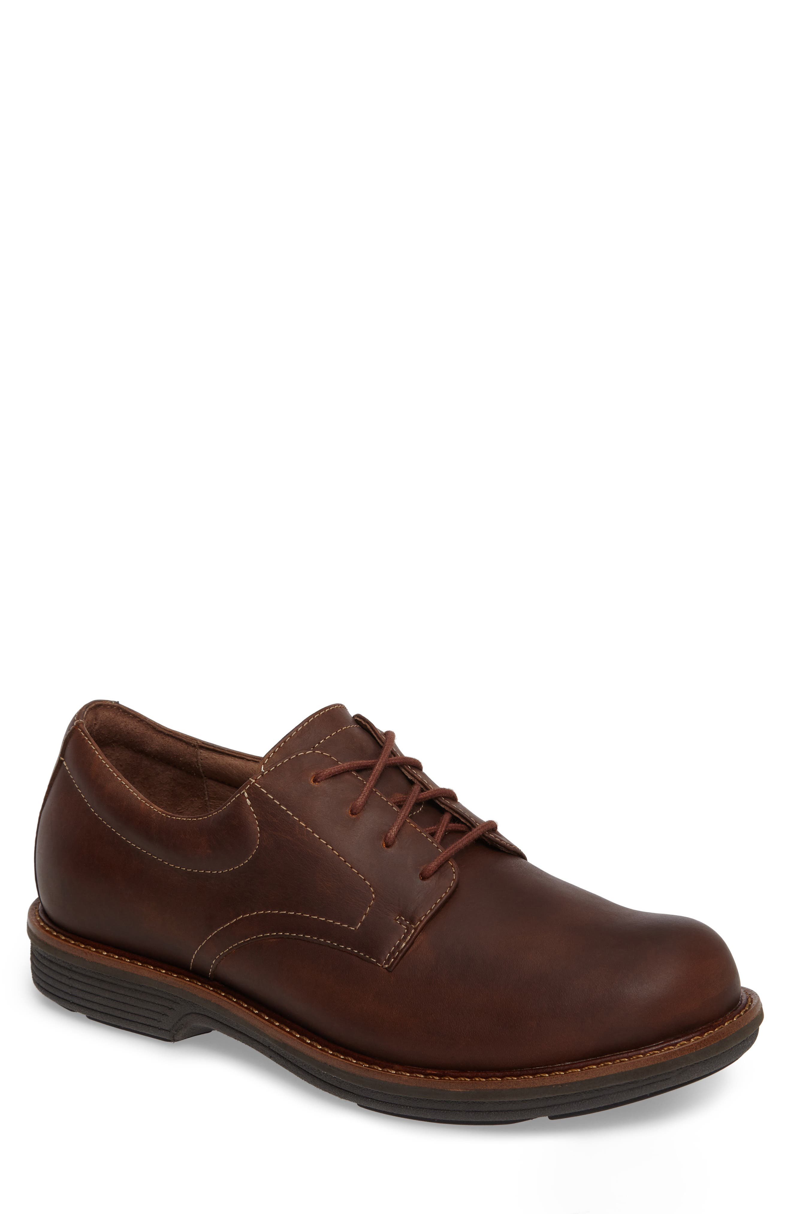 'Josh' Plain Toe Derby,                             Main thumbnail 1, color,                             BROWN PULL-UP LEATHER