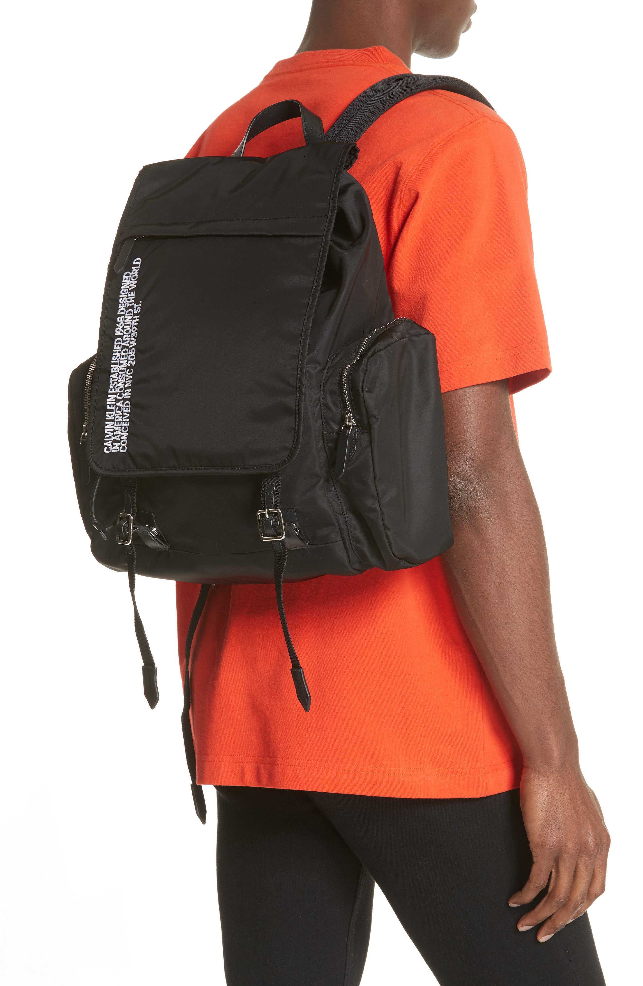 Nylon Flap Backpack,                             Alternate thumbnail 2, color,                             BLACK