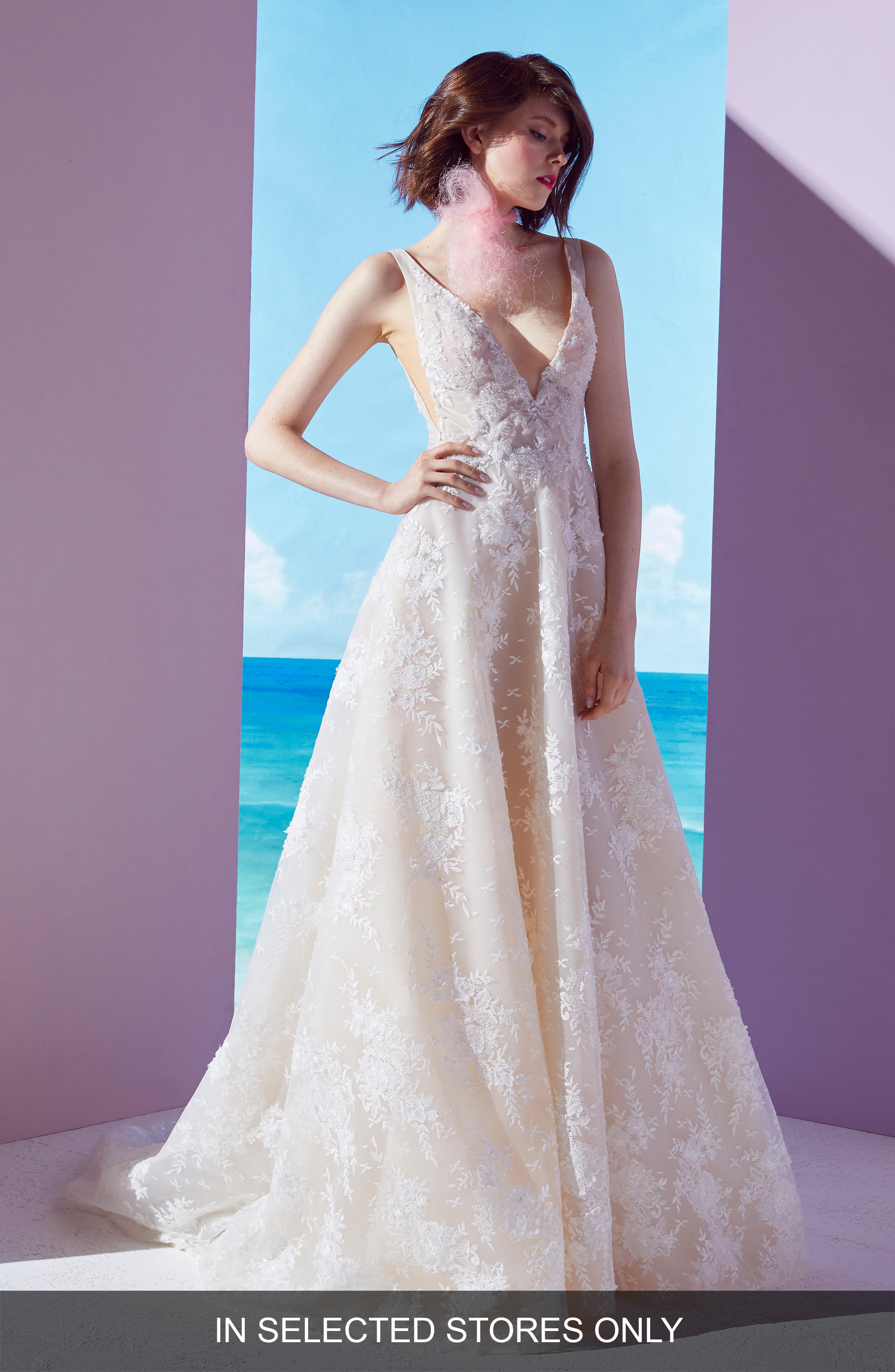 Beckette Embellished Ballgown, Main, color, OFF WHITE