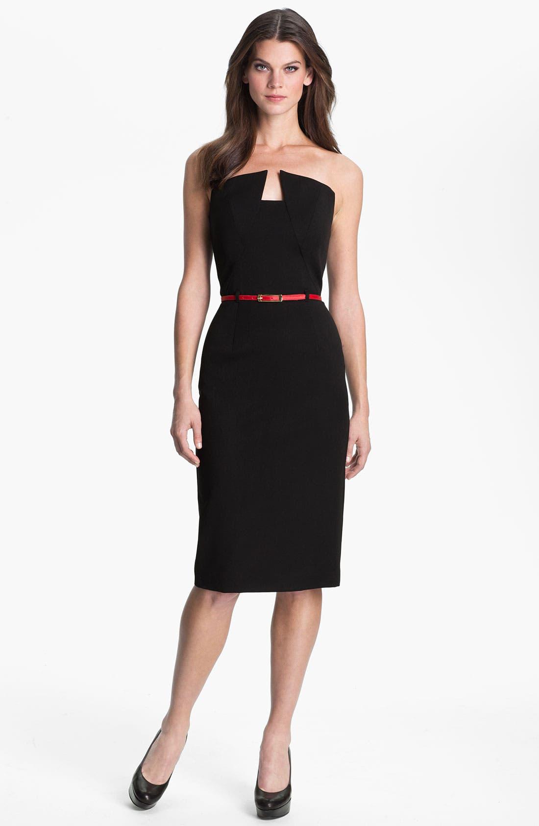 'Lena' Notch Neck Belted Sheath Dress,                             Main thumbnail 1, color,                             001