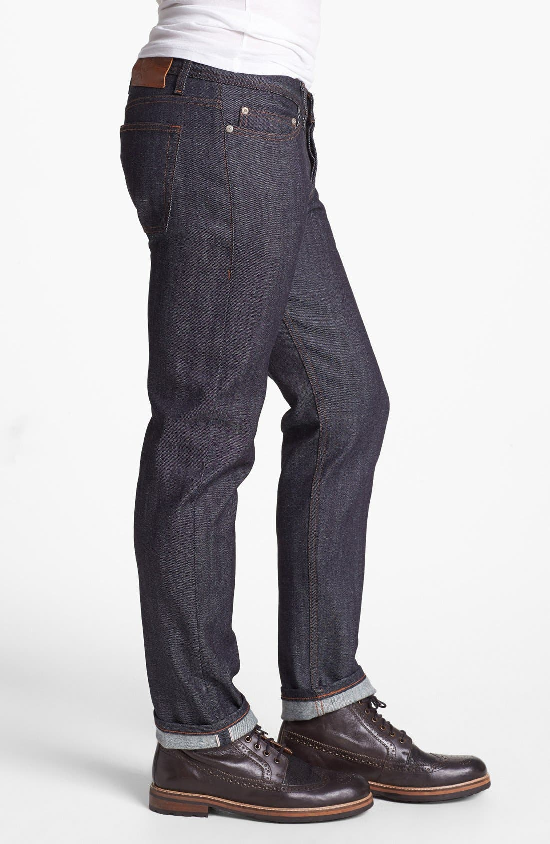 Weird Guy Slim Fit Raw Jeans,                             Alternate thumbnail 4, color,                             STRETCH SELVEDGE