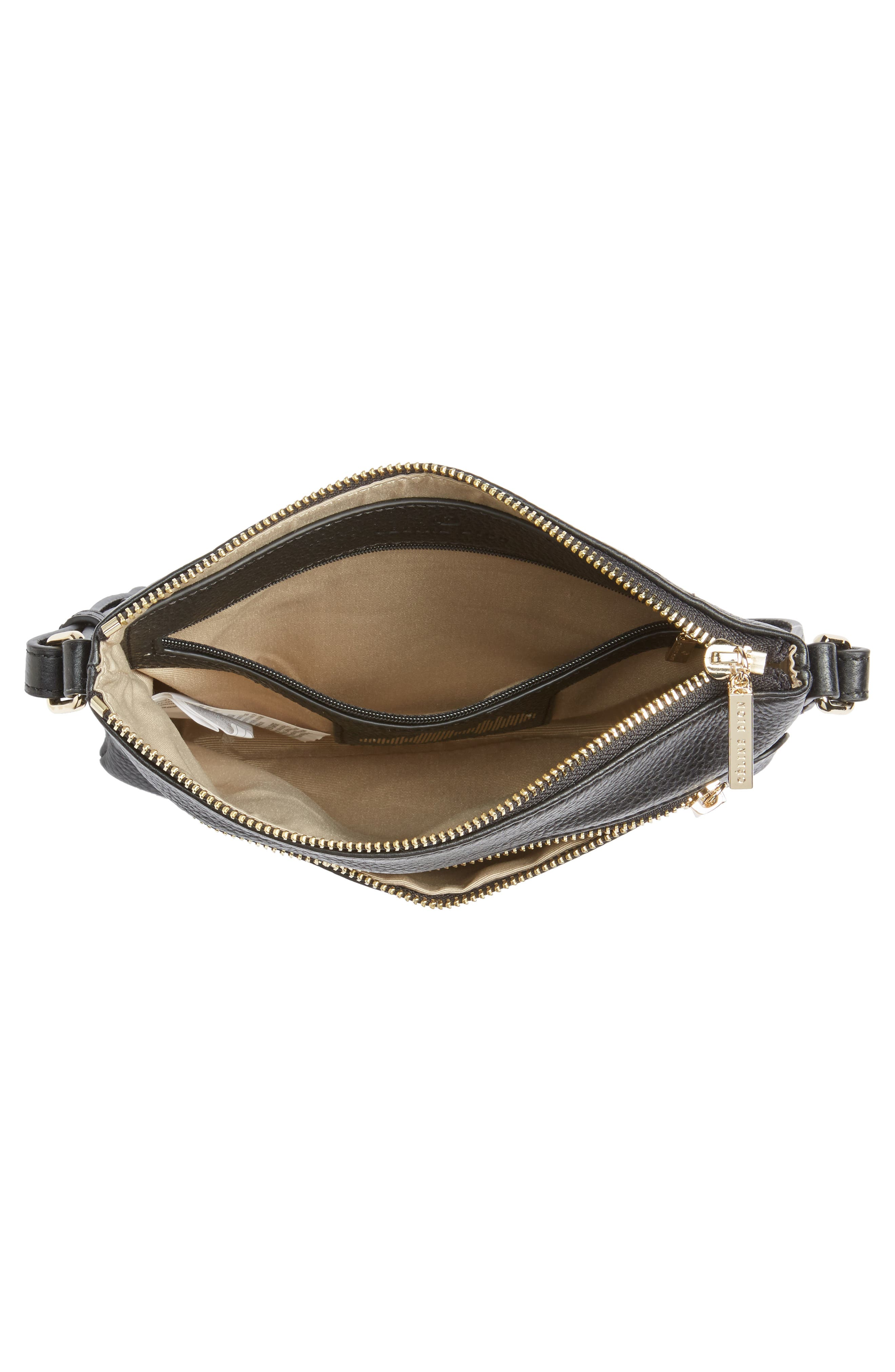 Céline Dion Adagio Leather Crossbody Bag,                             Alternate thumbnail 4, color,                             001