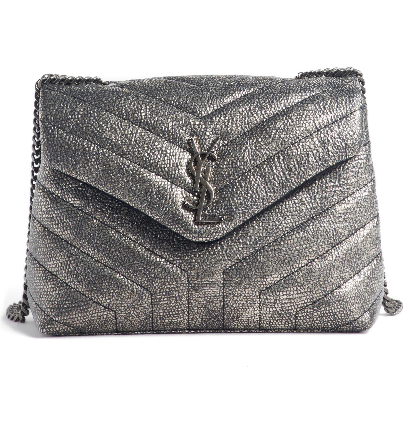 cc00484a53 Saint Laurent Loulou Small Metallic Leather Shoulder Bag