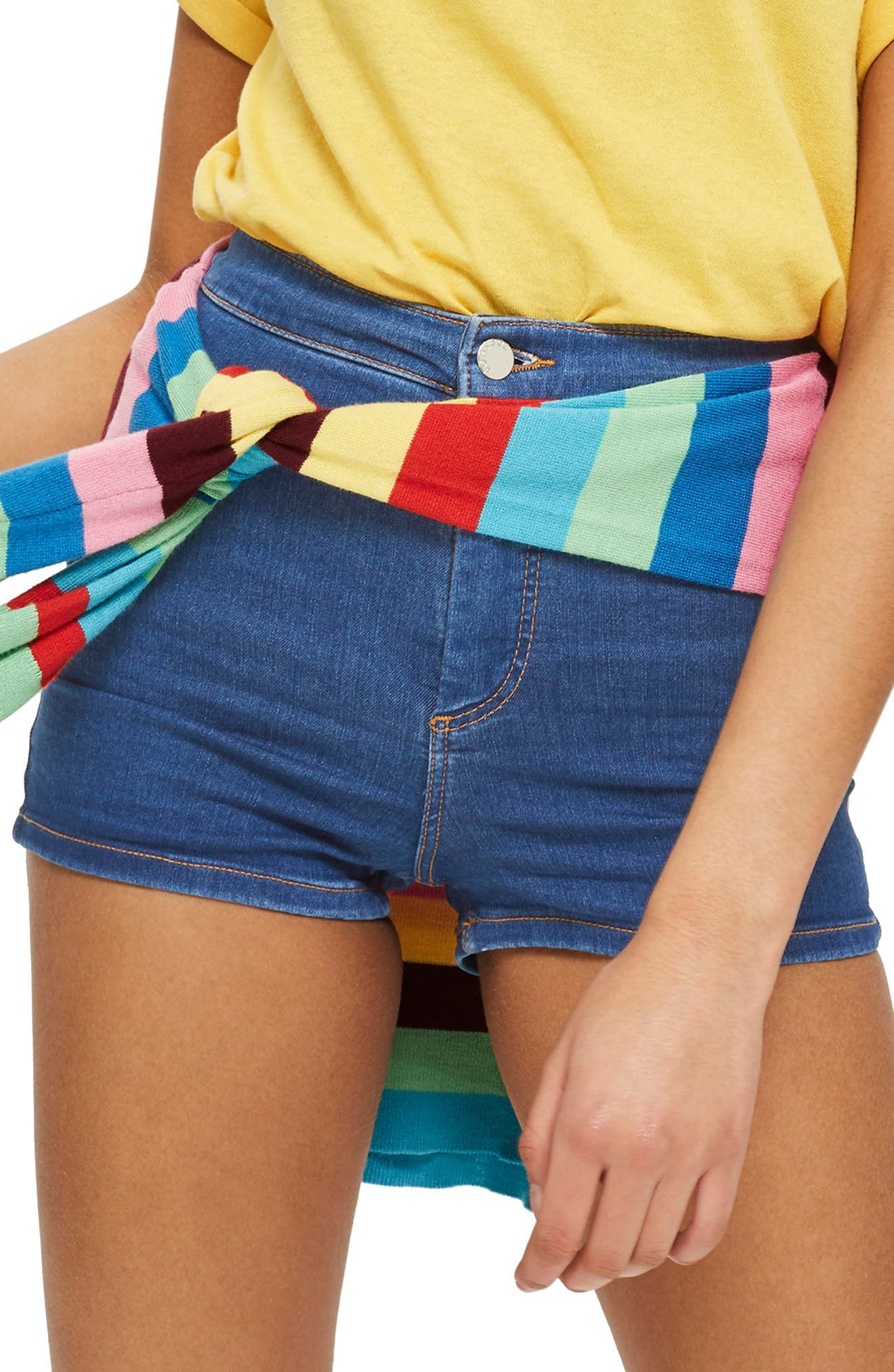MOTO Joni Mid Denim Shorts,                             Main thumbnail 1, color,