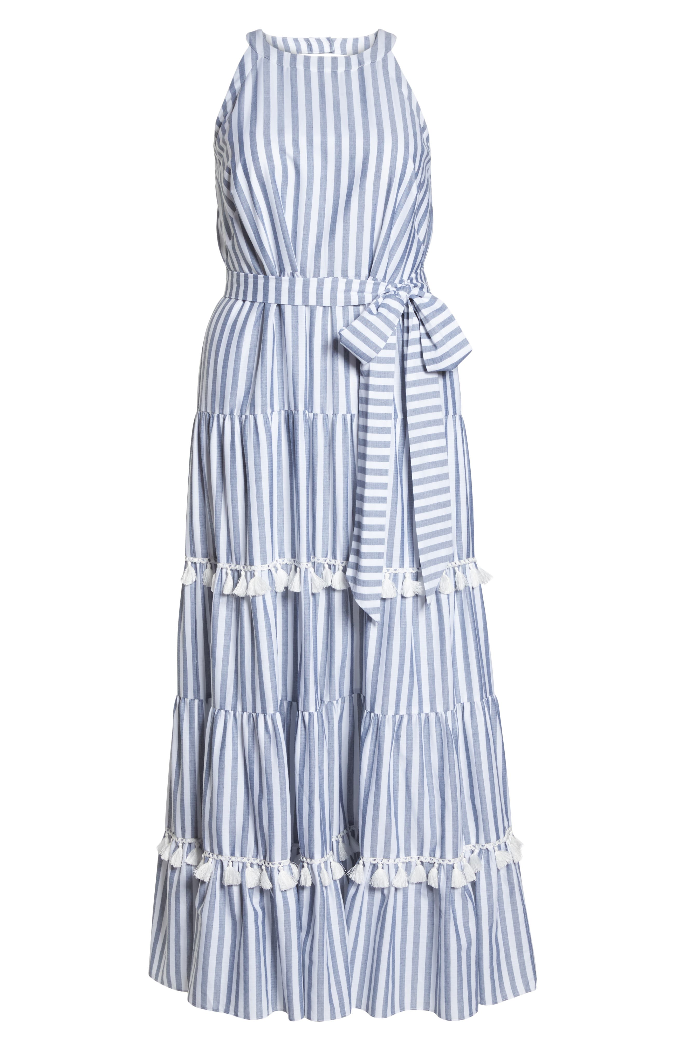 Tiered Stripe Halter Maxi Dress,                             Alternate thumbnail 7, color,                             IVORY