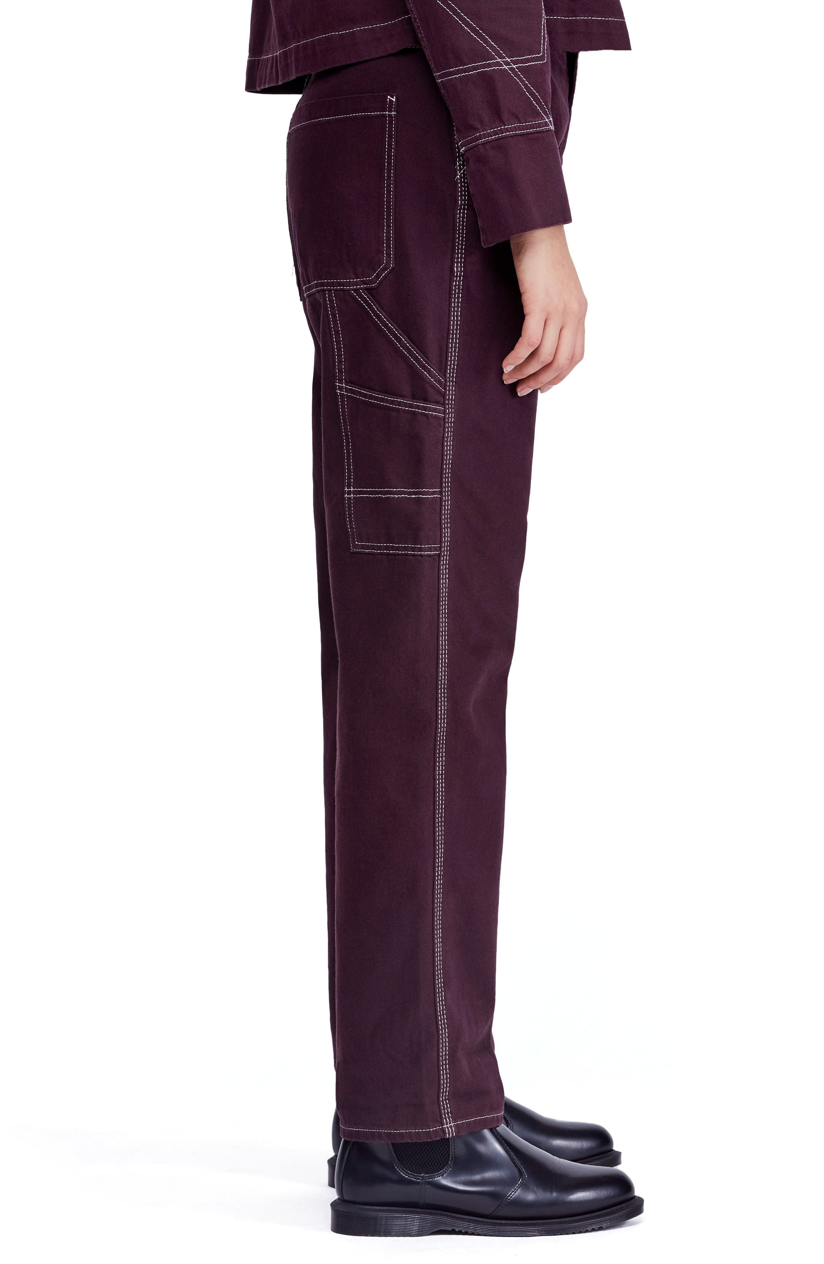 Urban Outfitters Workwear Pants,                             Alternate thumbnail 3, color,                             WINE