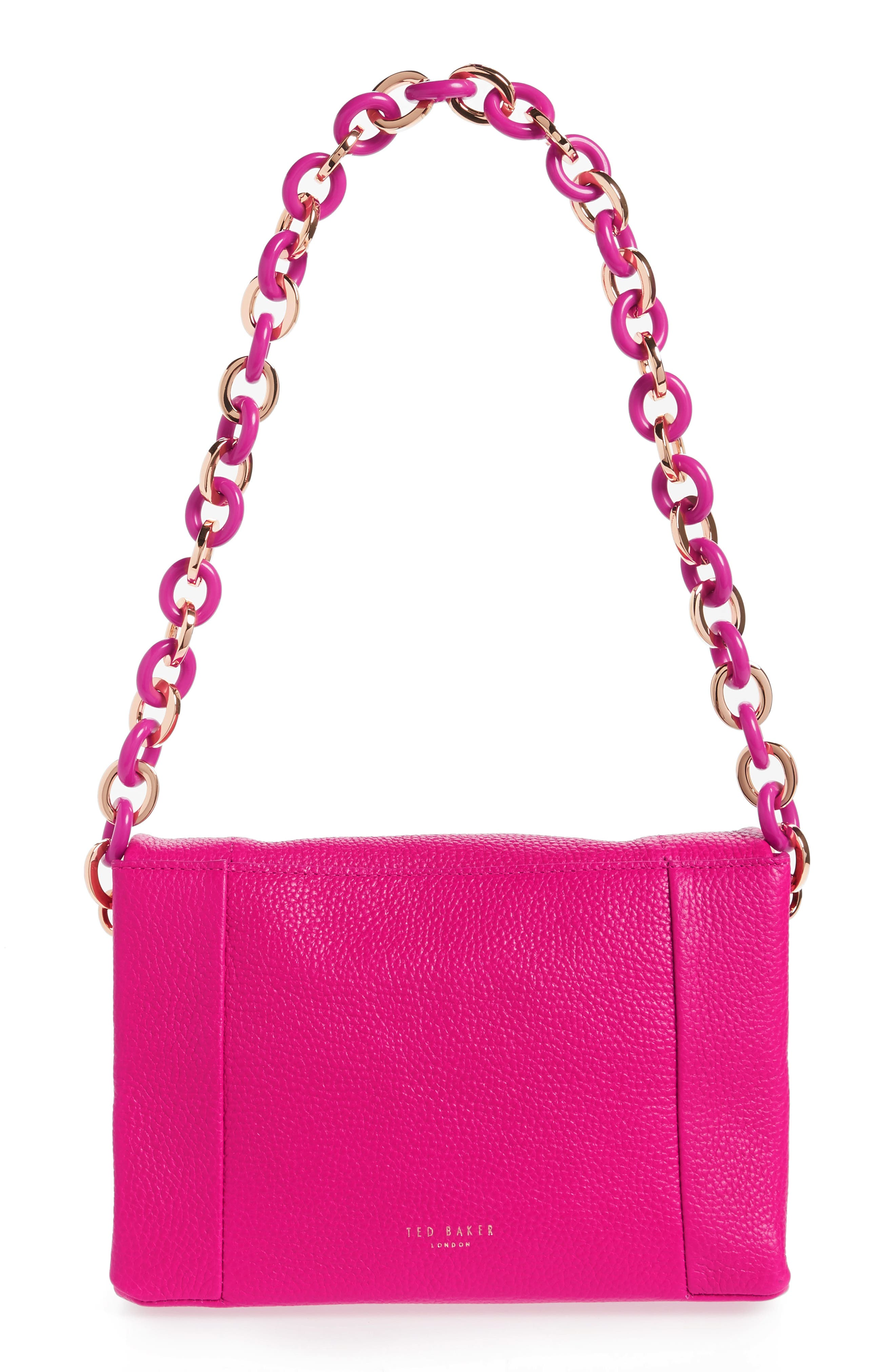 Ipomoea Leather Shoulder Bag,                             Alternate thumbnail 3, color,                             FUCHSIA