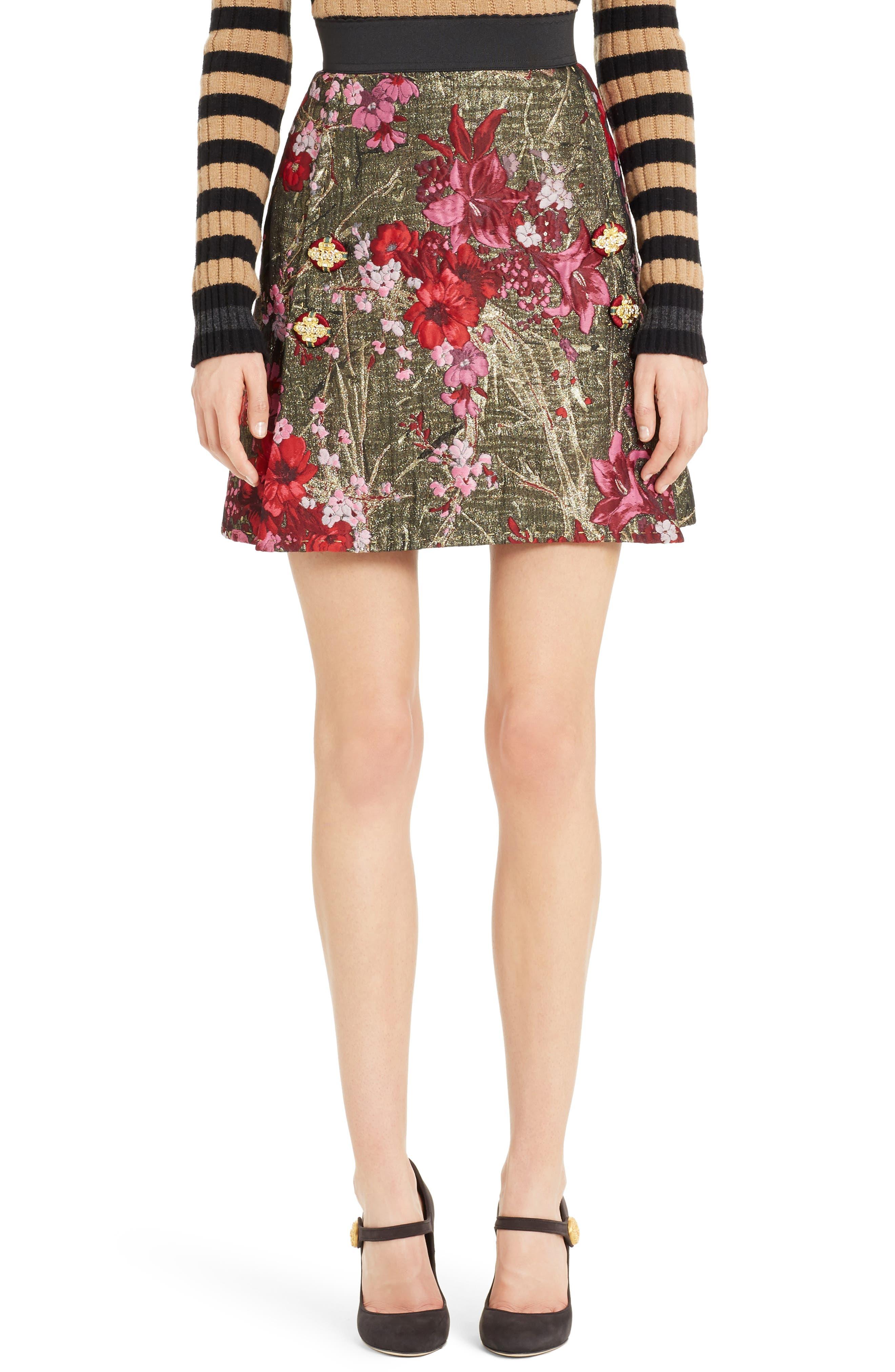 Metallic Jacquard Miniskirt,                         Main,                         color, 600