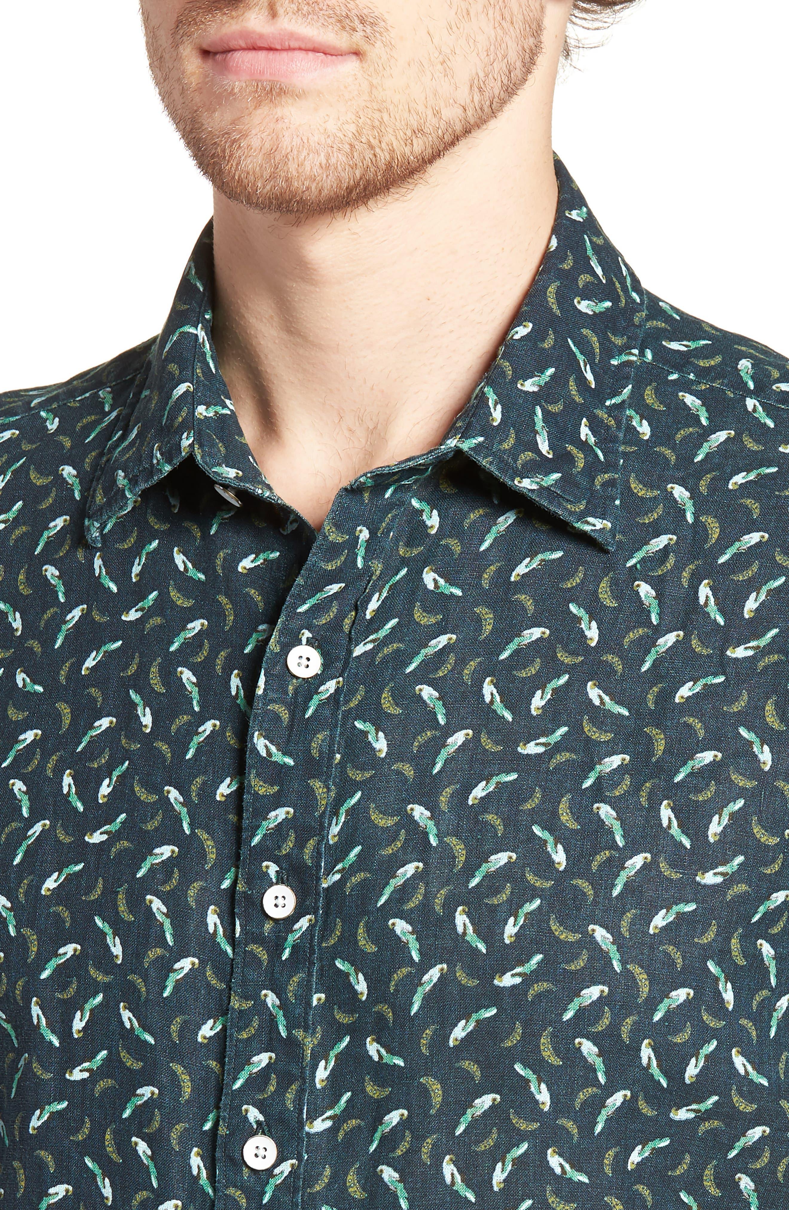 Rivas Avenue Linen Sport Shirt,                             Alternate thumbnail 4, color,                             FOREST