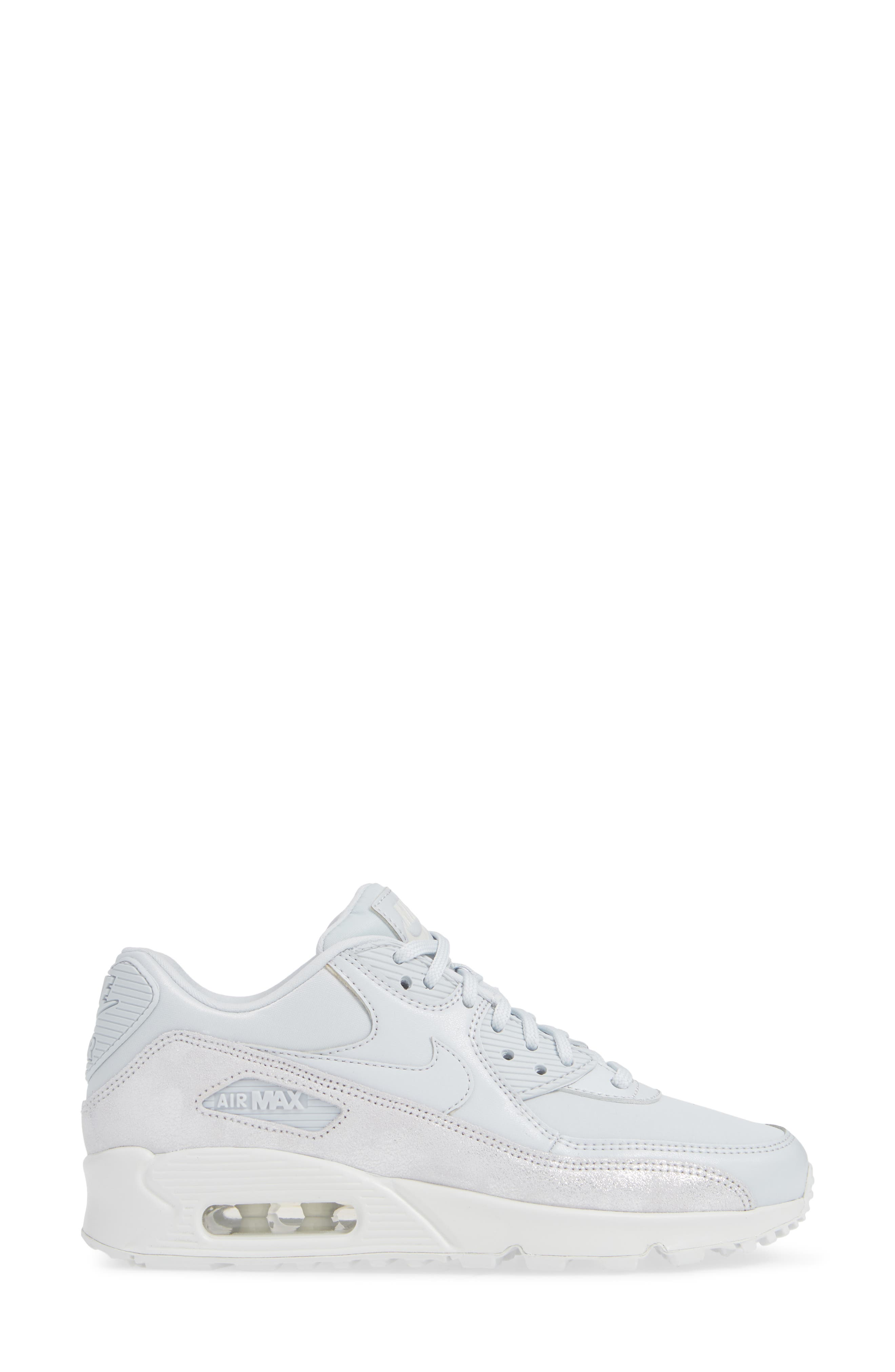 Air Max 90 SE Sneaker,                             Alternate thumbnail 3, color,                             PURE PLATINUM/ PLATINUM- WHITE