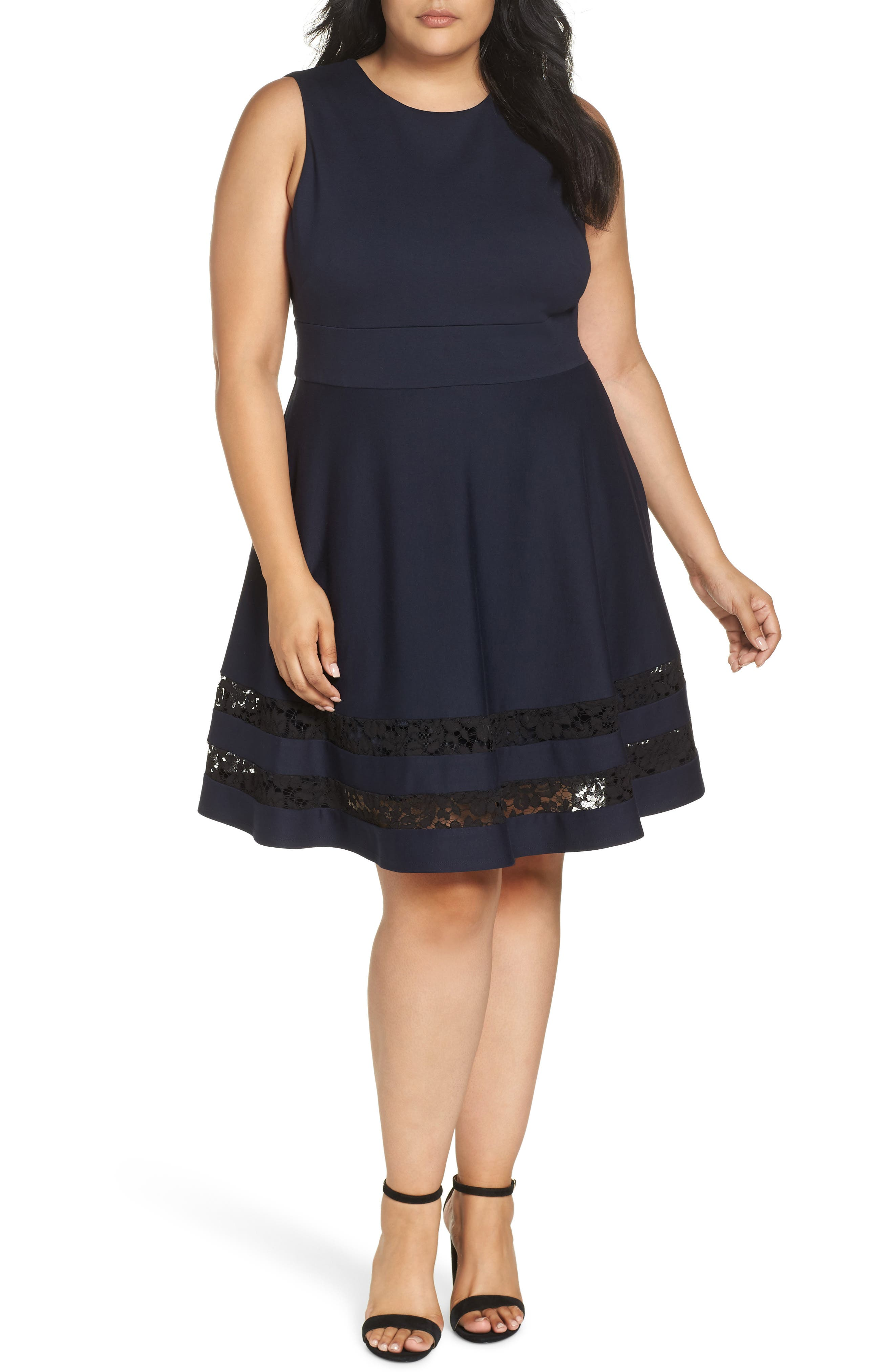 Lace Trim Fit & Flare Dress,                             Main thumbnail 1, color,                             NAVY