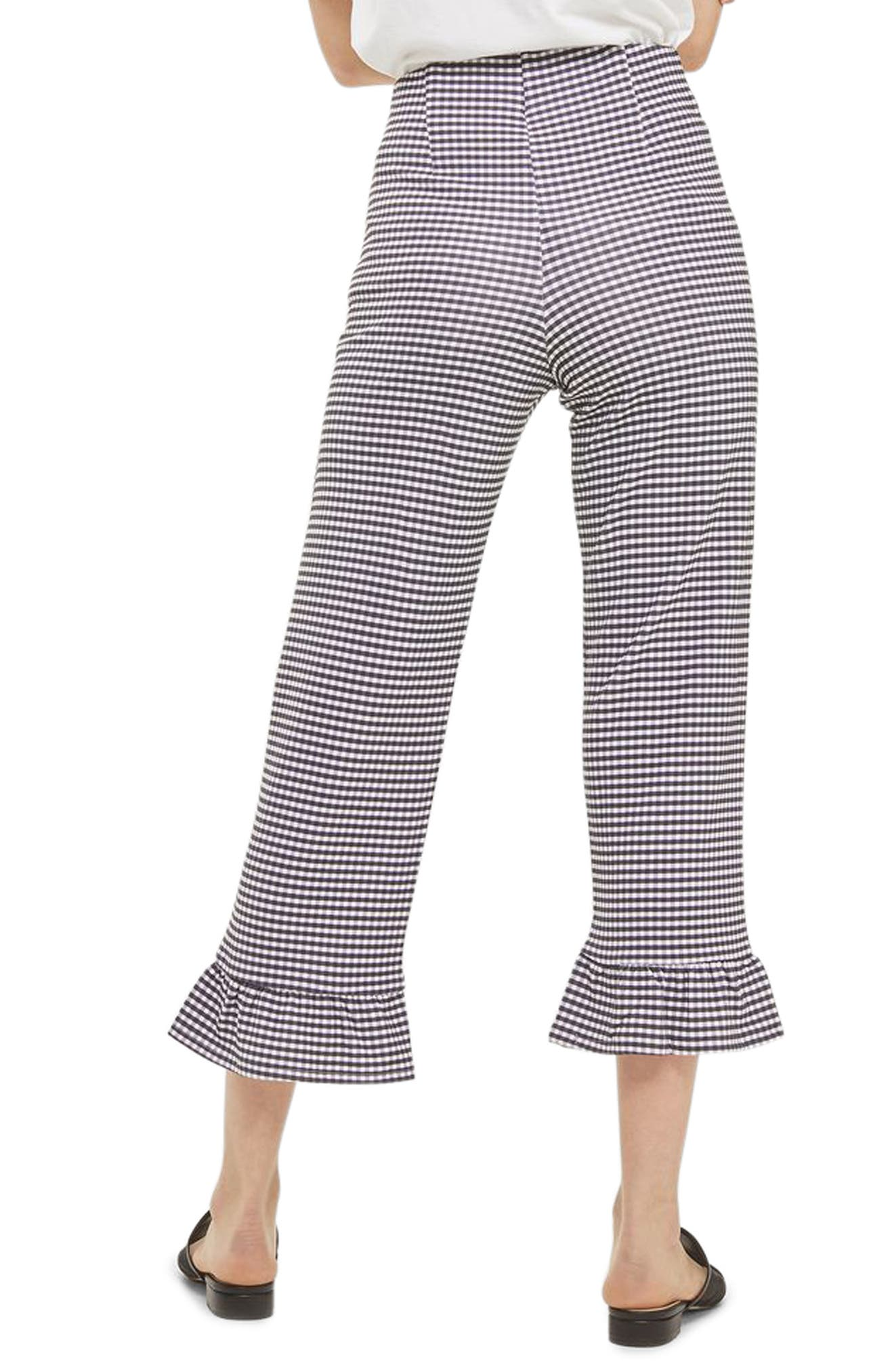 Gingham Ruffle Capri Trousers,                             Alternate thumbnail 2, color,
